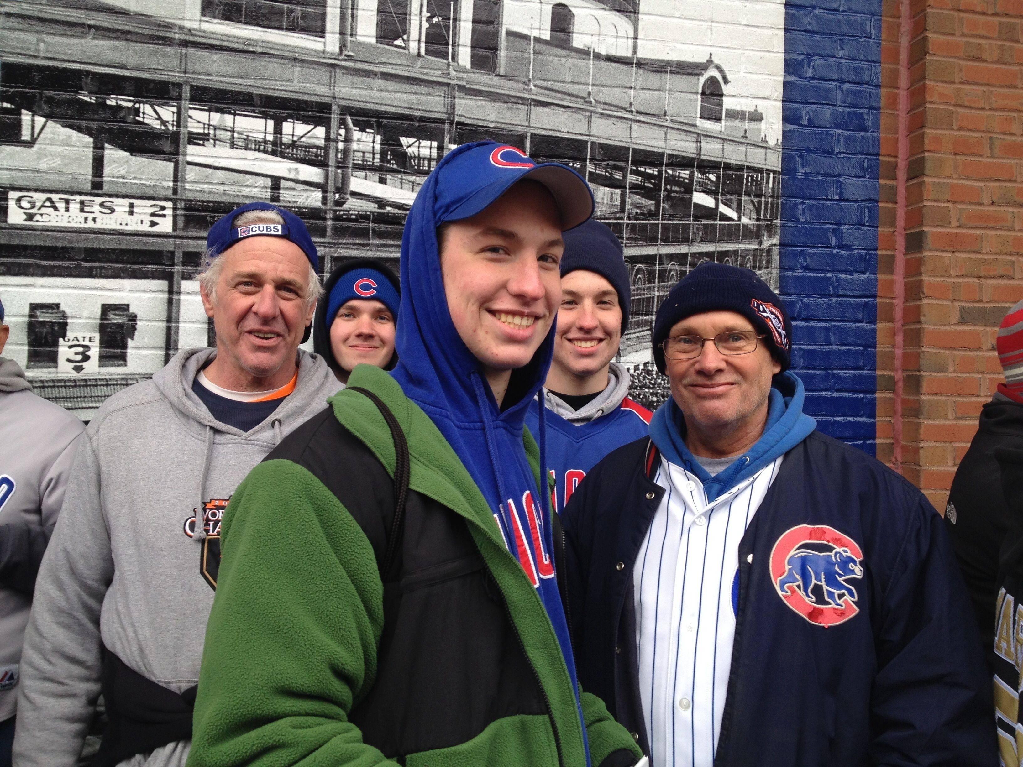 "From left, Pete Smart, Jonny Yarnall, Steven Smart, Sean Smart and Dave Yarnall were prepared for the cold afternoon at Wrigley Field. The Smarts, of Lake Villa, and Yarnalls, of Lindenhurst, play hockey together on Lake Linden, ""so we're used to the cold,"" Dave Yarnall says."