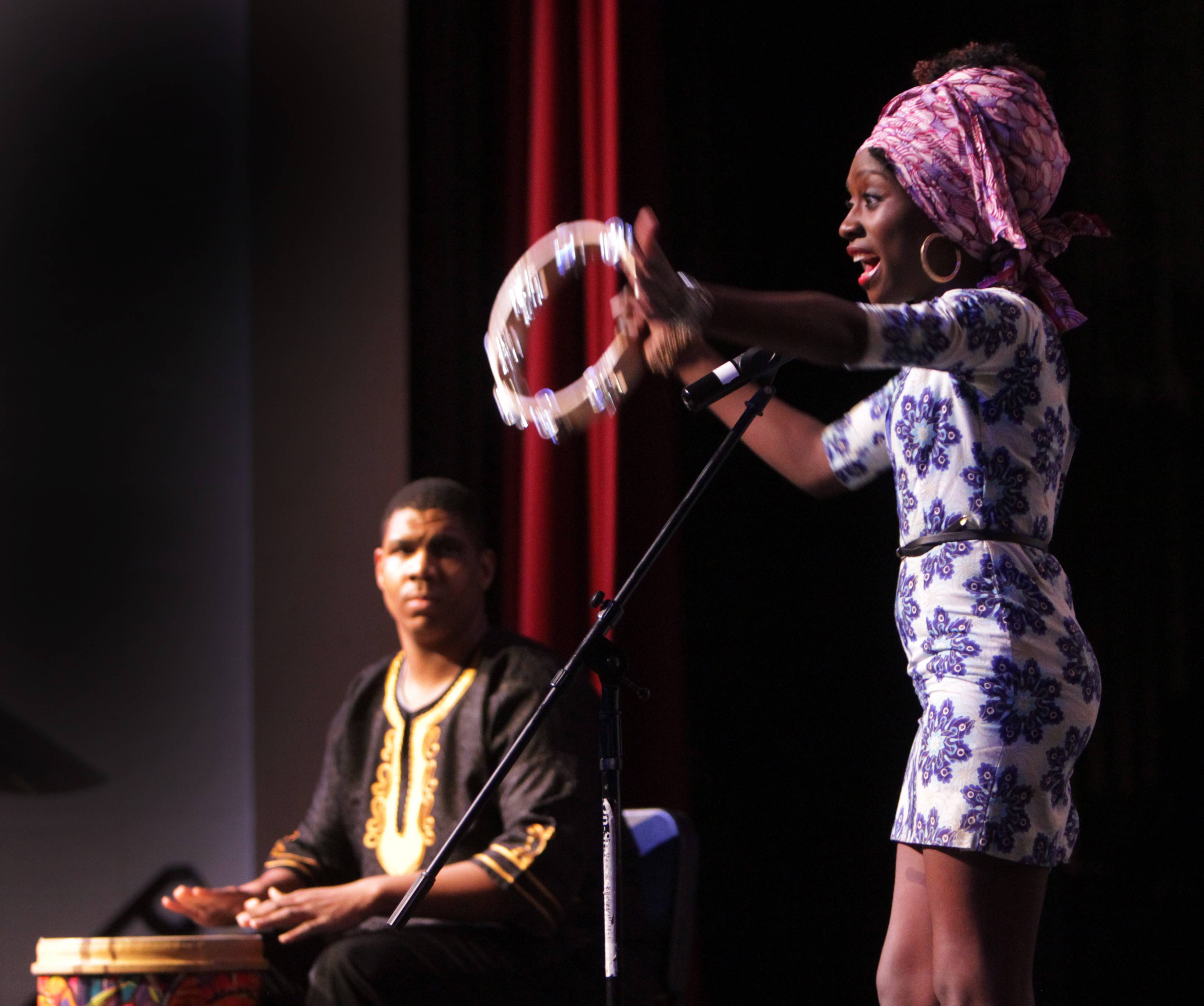 "Debbie Ogunribido, a junior at Elgin High School, came to the U.S. just five years ago from Nigeria. Drummer Chris Holling is also a junior. The duo, who will compete at TalentFest, was performing ""Fire on the Mountain."""