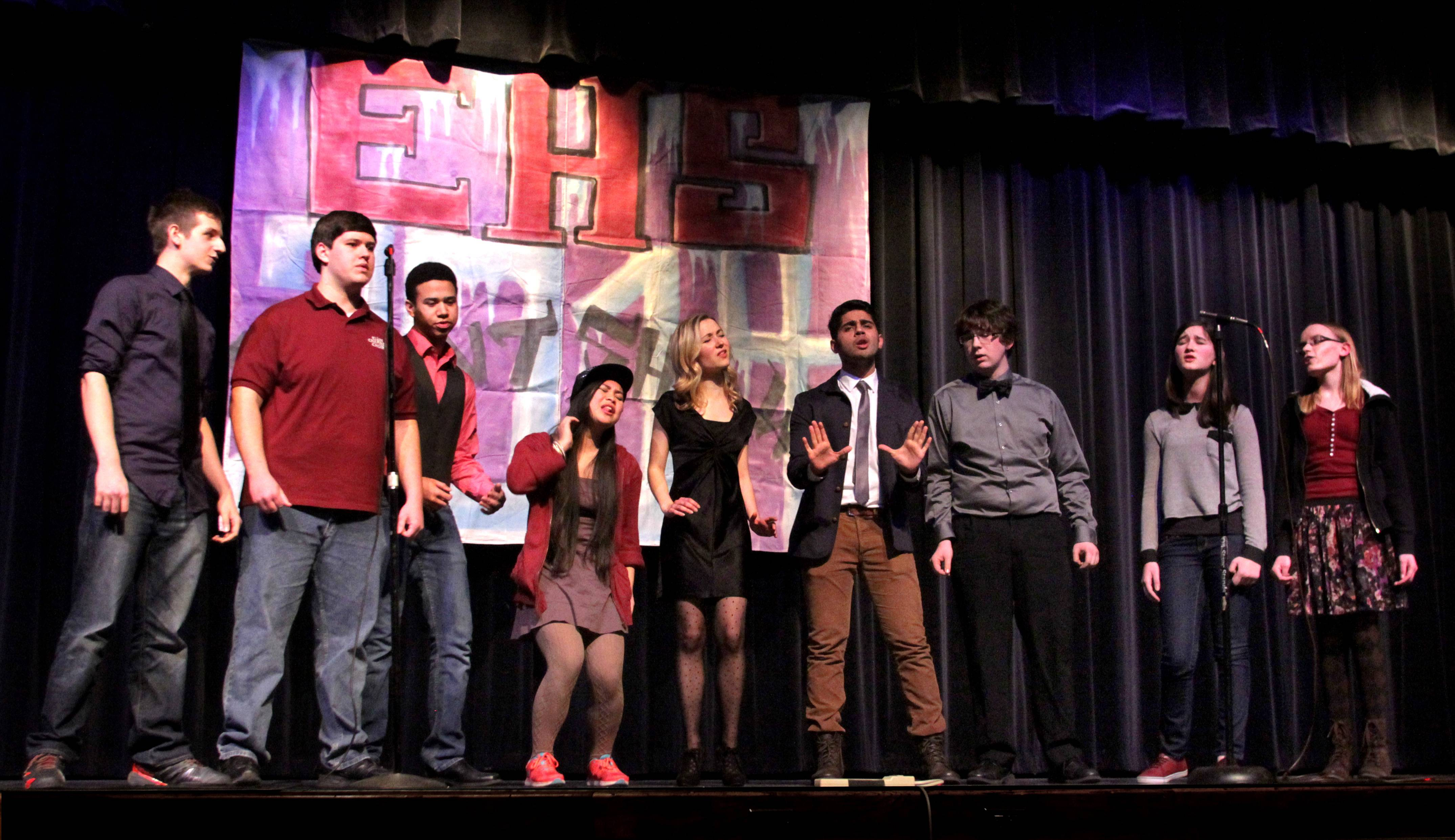 Cloud Nine is the name of an a capella group from Elgin High School that will be going to TalentFest 2014 at the Hemmens. From left: John Hoskins, Zachery Rago, Austin Bernat, Arjele Bureros, Maddie Lag, Reza Khan, Michael Kelley, Abby Lag, and Jessica Rusick.