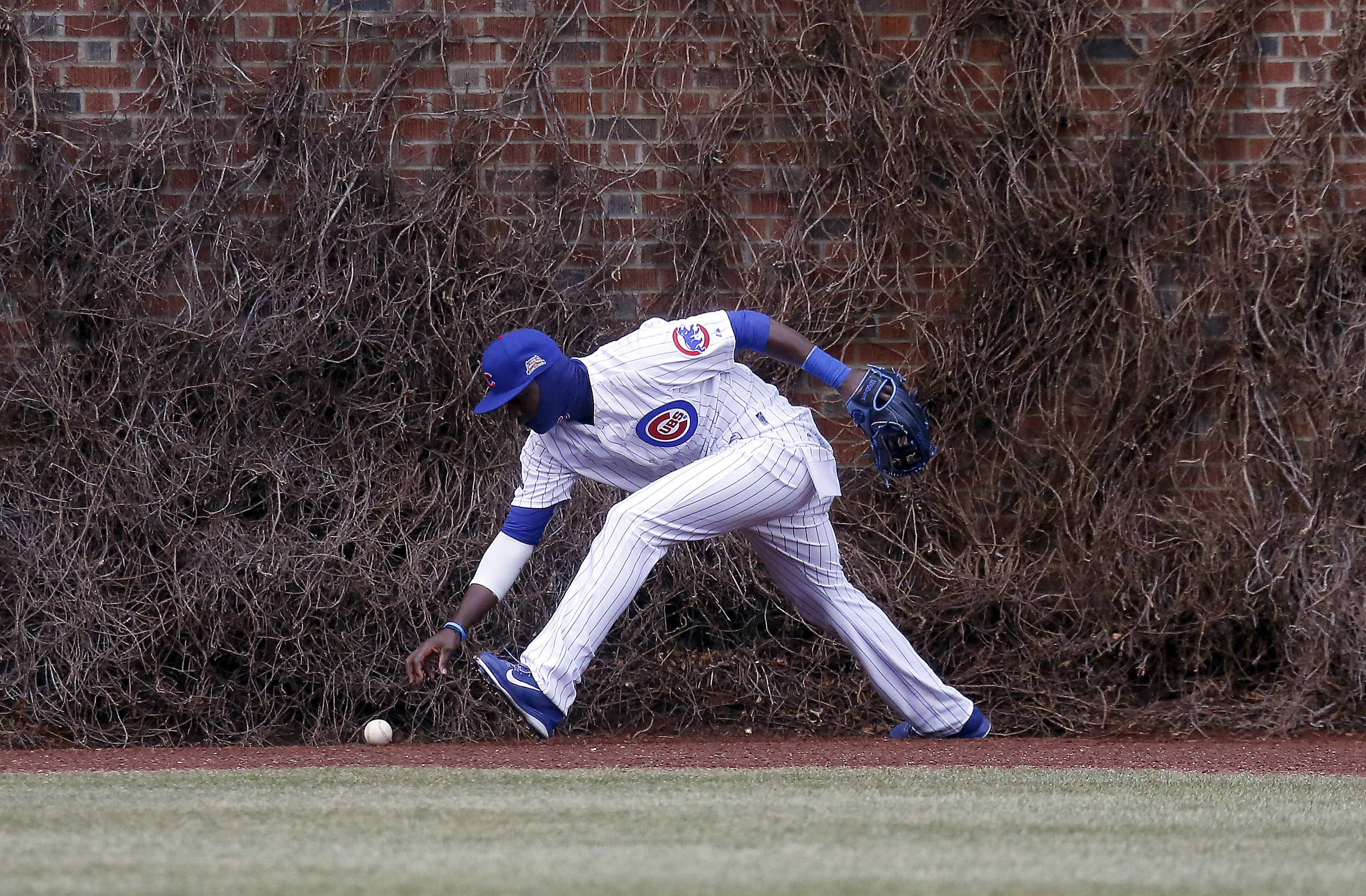 Chicago Cubs left fielder Junior Lake tries to get a handle on an RBI double by Philadelphia Phillies left fielder Domonic Brown.
