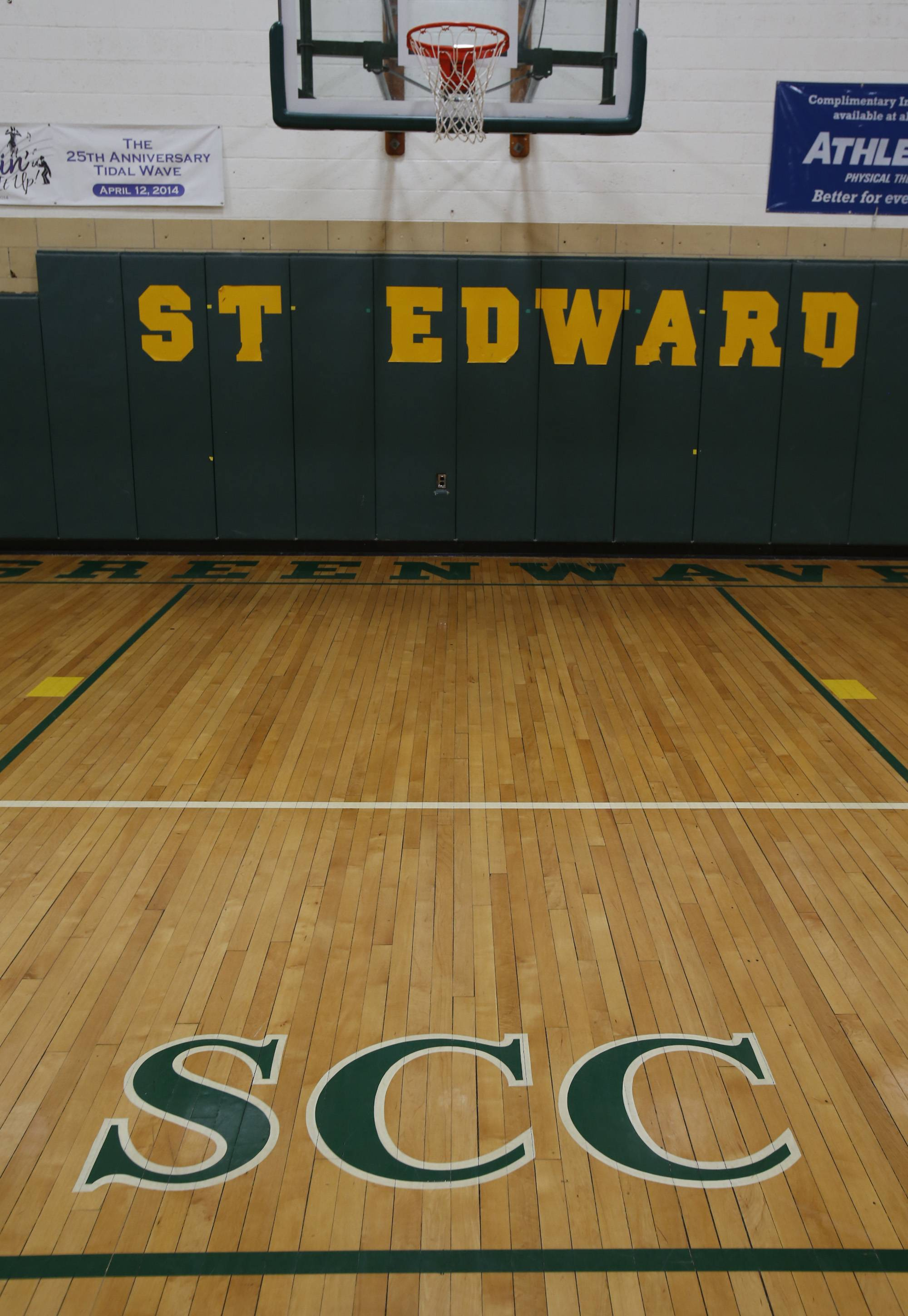 The SCC logo will be removed from the gym floor at St. Edward High School this summer as the school prepares to move to the Metro Suburban Conference this fall.