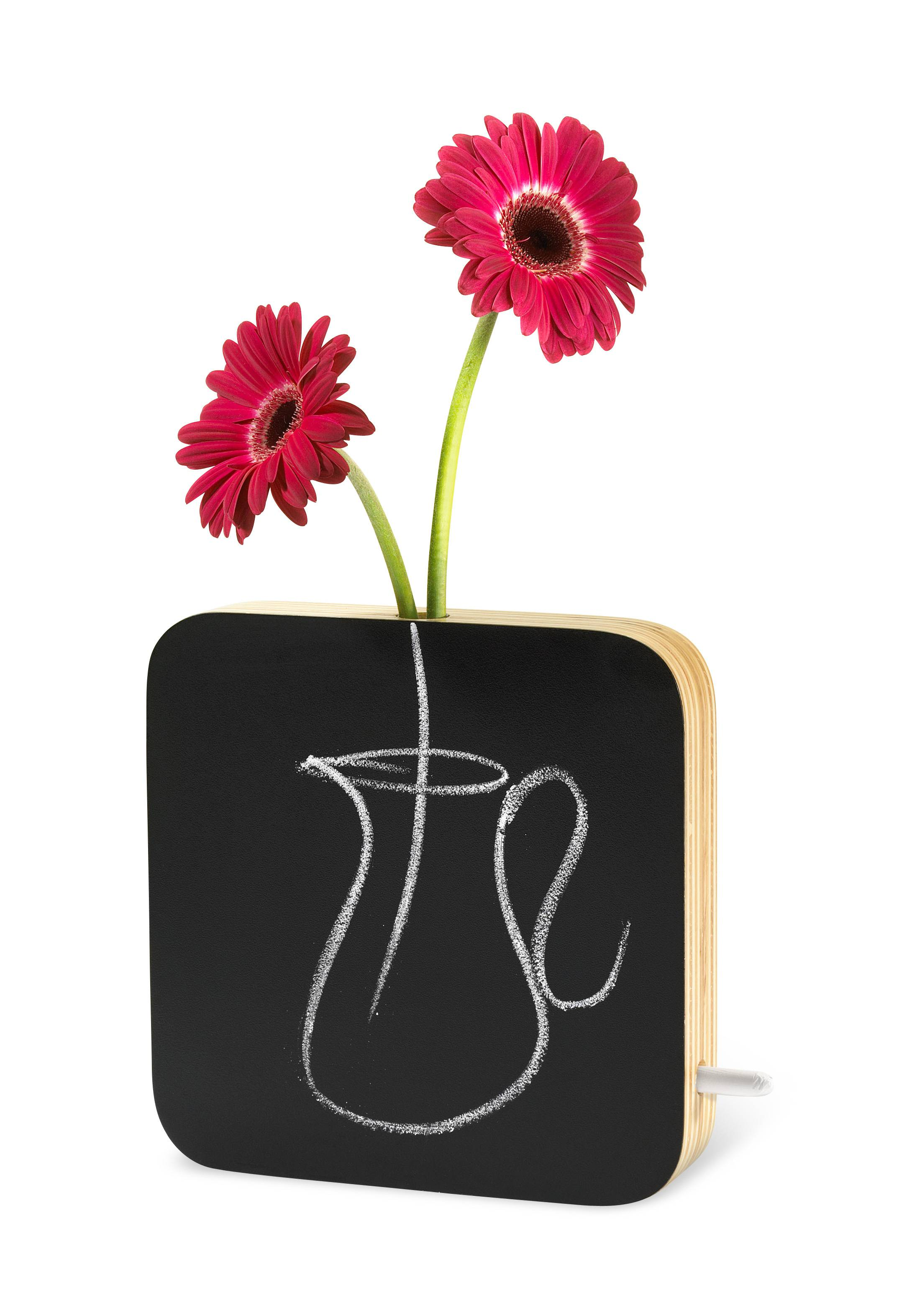 A playful Chalkboard Vase by designer Ricardo Saint-Clair is available at momastore.org, featuring a chalkboard front which can be used for drawings, messages, and more. The top of the bud vase houses a removable glass tube designed to hold water and flowers.
