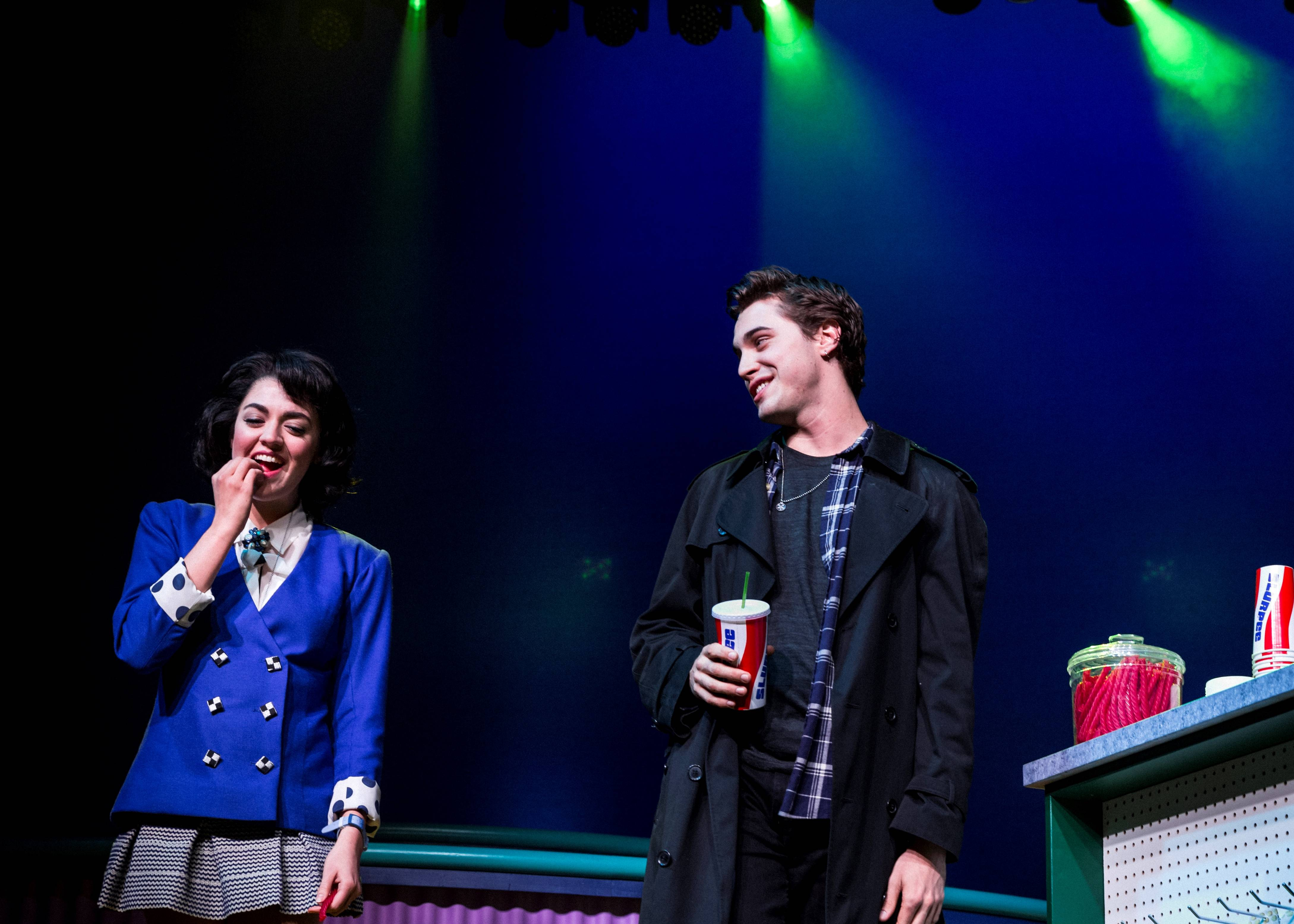 "Barrett Wilbert Weed, left, and Ryan McCartan star in the musical ""Heathers"" at New World Stages in New York."