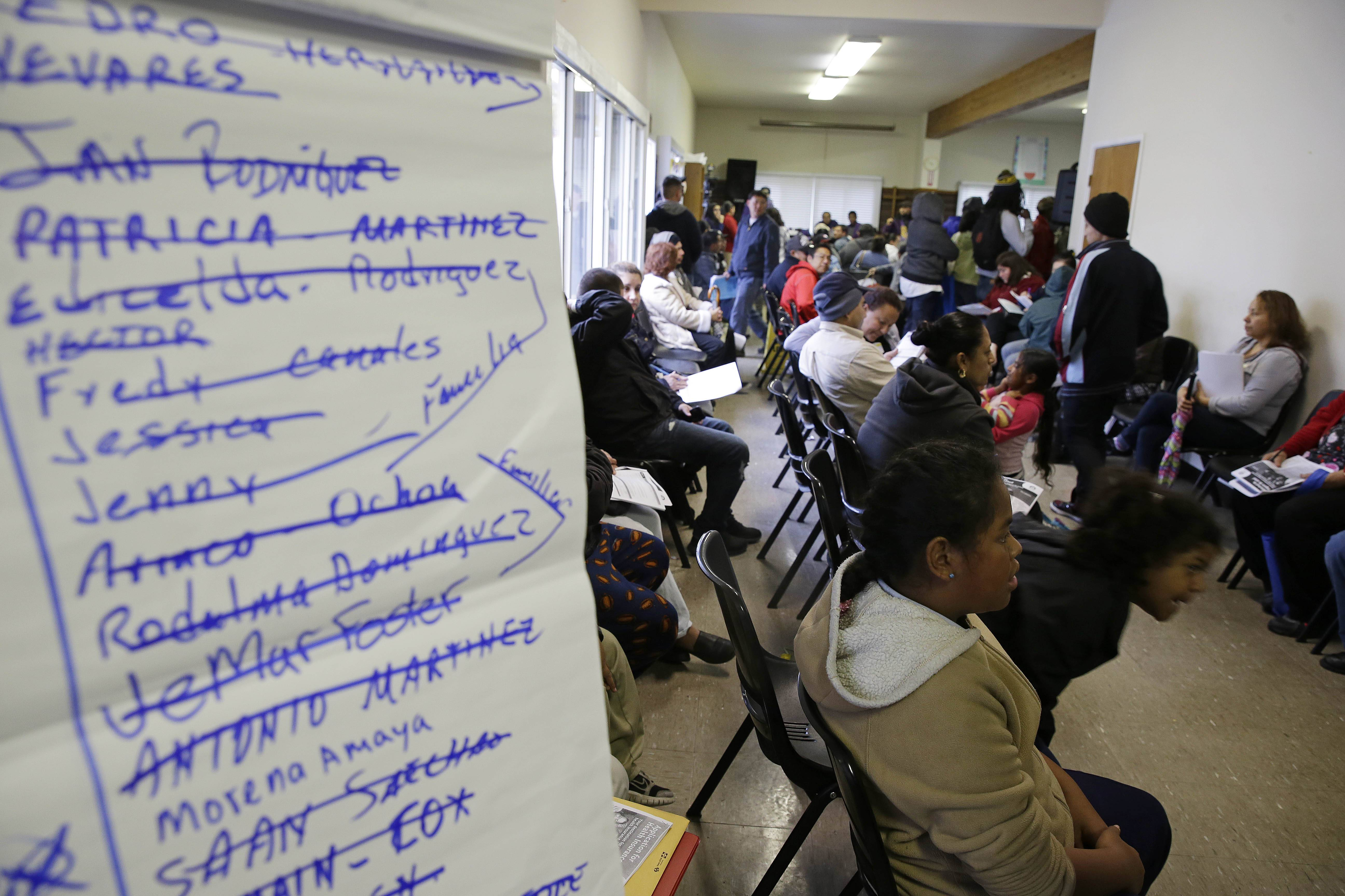 A waiting room was filled with applicants March 31 waiting to be called during a health care enrollment event at the Bay Area Rescue Mission in Richmond, Calif.