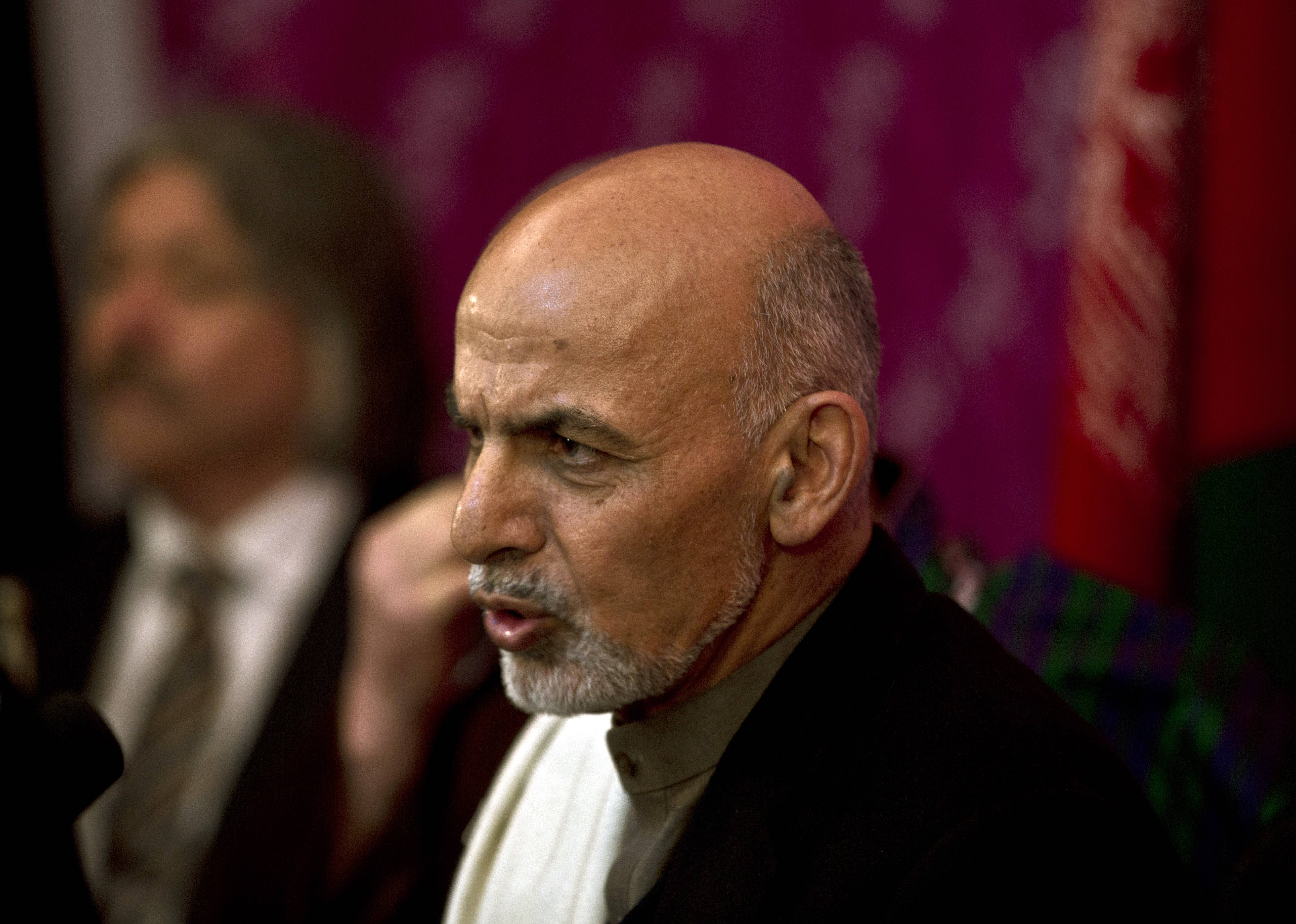 Afghan presidential candidate Ashraf Ghani Ahmadzai, speaks during a news conference, in Kabul, Afghanistan, Saturday.