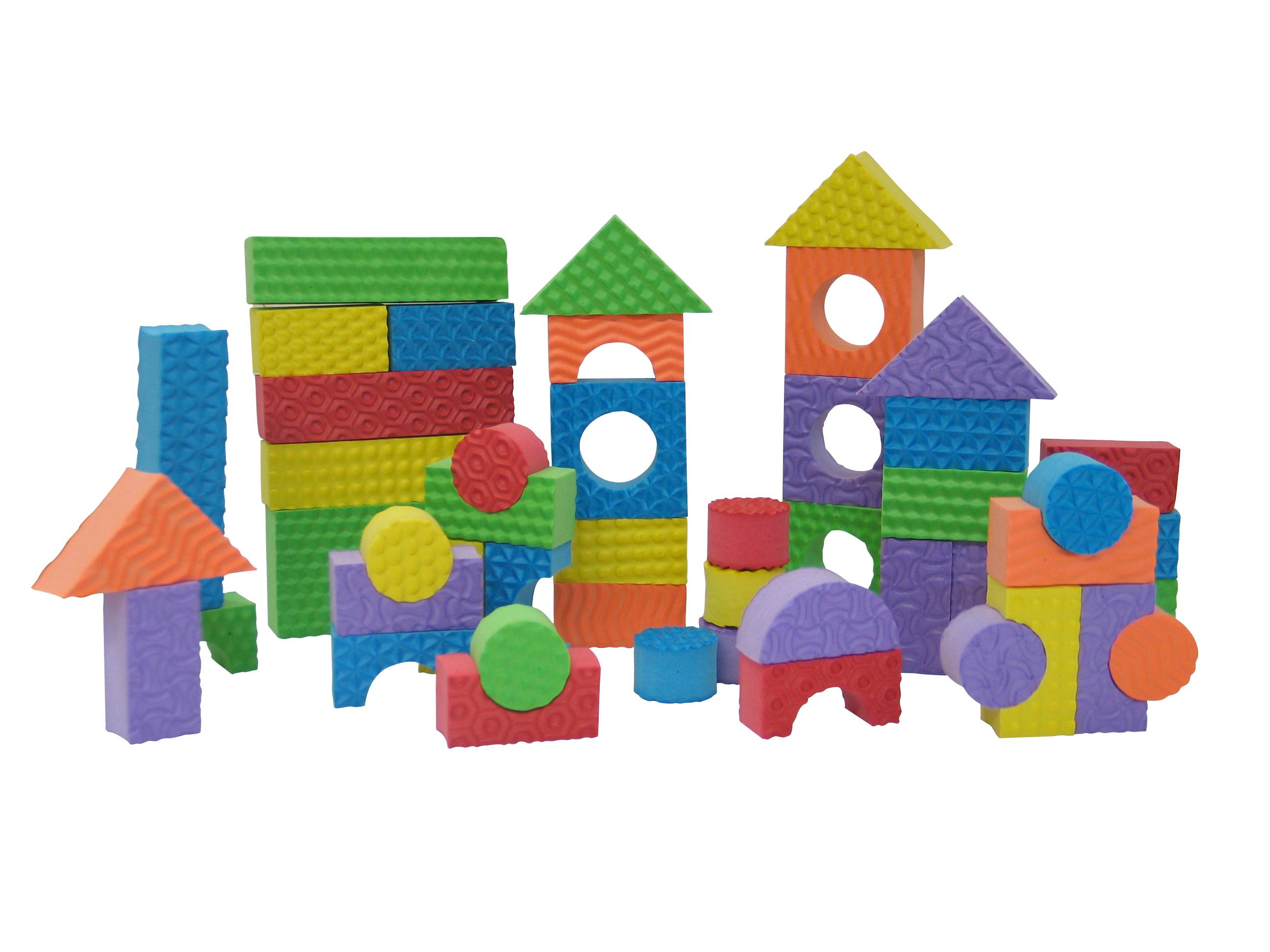 Edushape's Textured Toy Blocks are washable, textured foam blocks that come in a variety of sizes and colors so young children can practice a range of early building and designing skills.