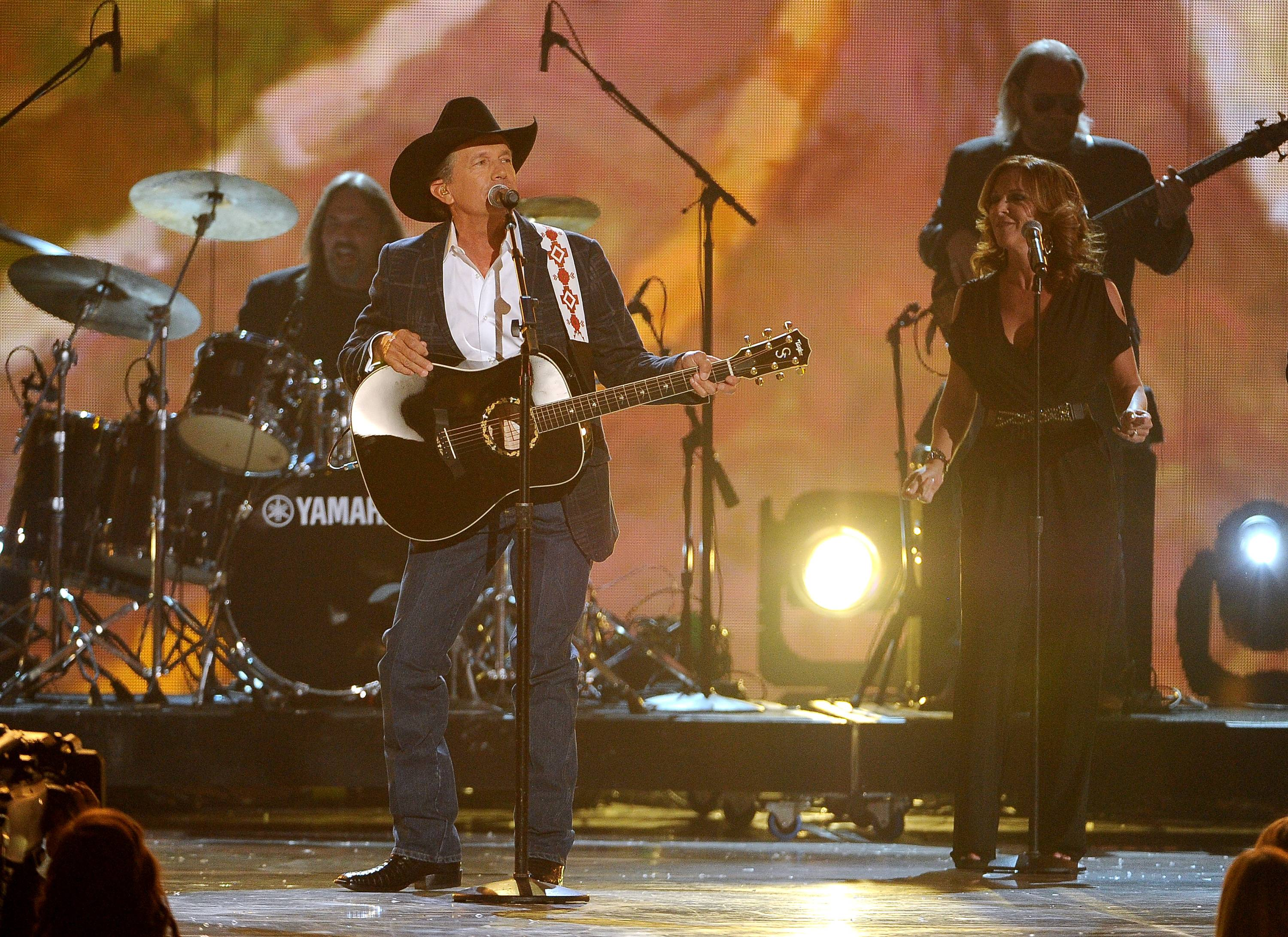 George Strait performs on stage at the 49th annual Academy of Country Music Awards at the MGM Grand Garden Arena on Sunday