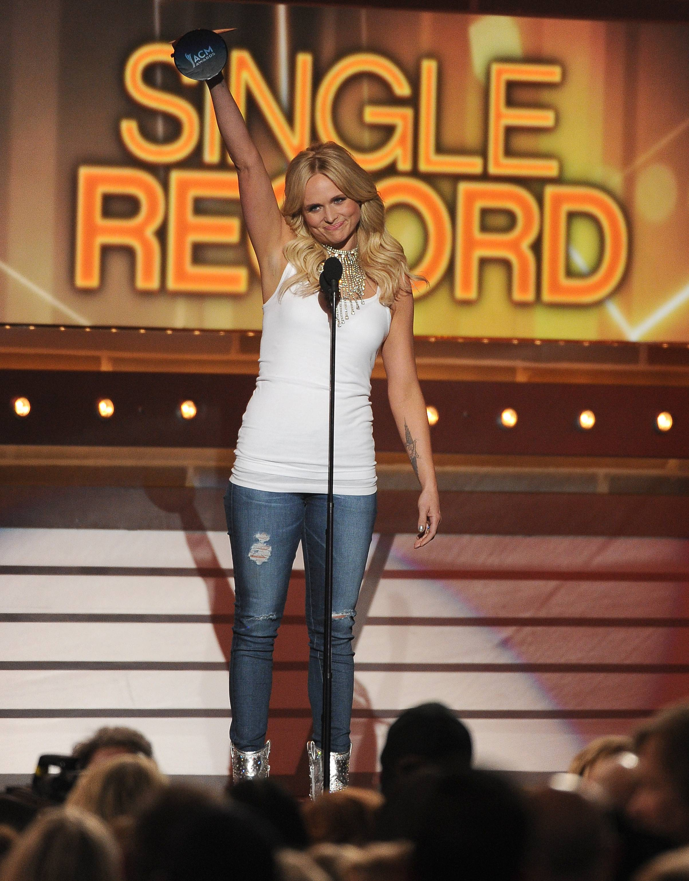 Miranda Lambert accepts the single record of the year award on stage at the 49th annual Academy of Country Music Awards.