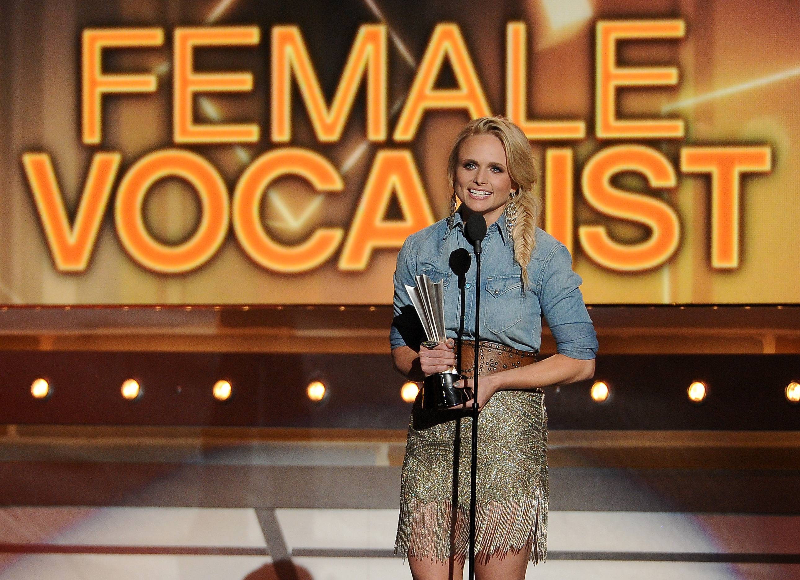 Miranda Lambert accepts the award for female vocalist of the year at the 49th annual Academy of Country Music Awards.