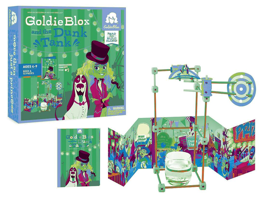 Goldie Blox and the Dunk Tank includes Goldie, her dog Nacho and her friends who encounter situations they must solve by building simple machines. The GoldieBlox kits are aimed at young girls, teaching early engineering concepts.