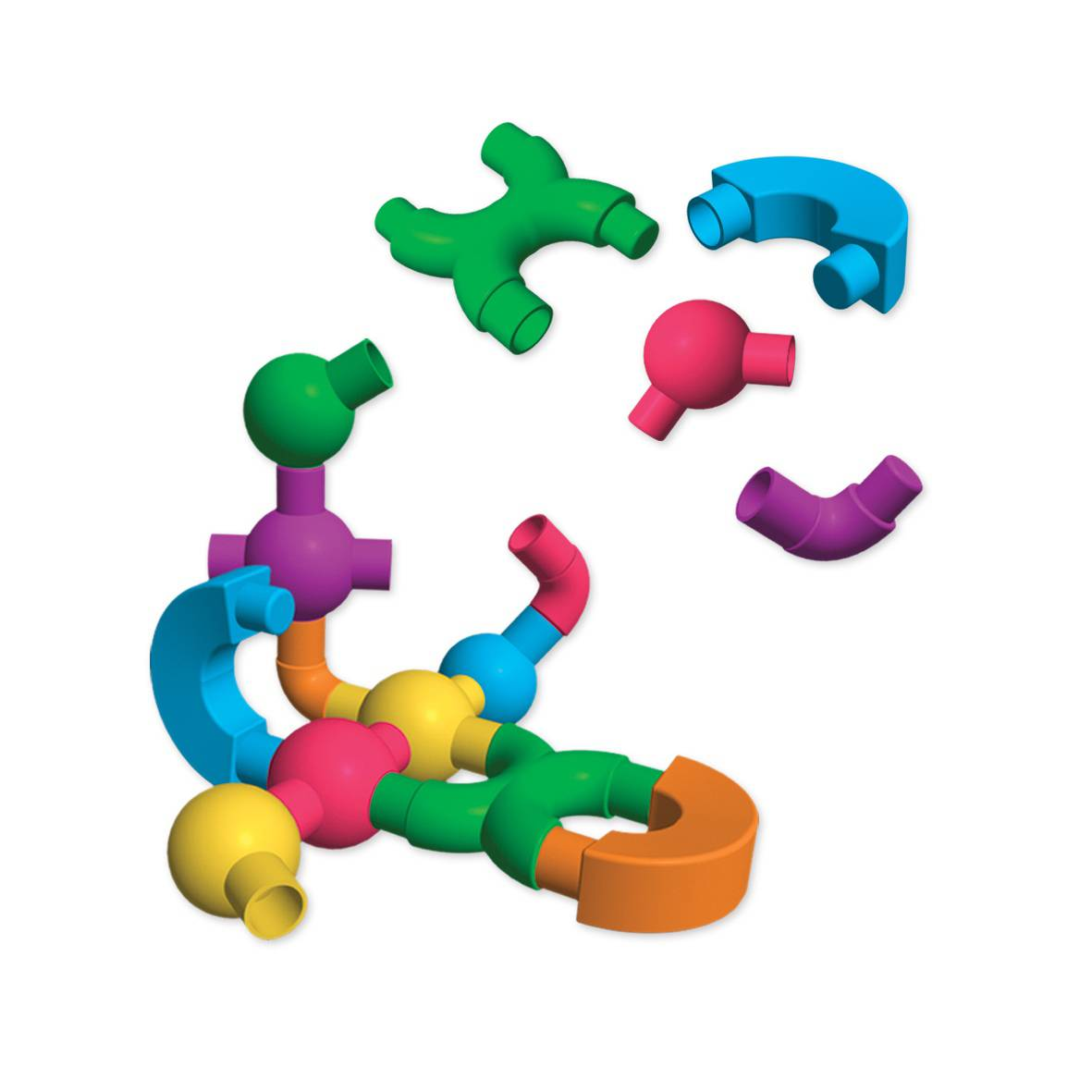 Edushape Kiddy Connects Extenders Toy Set contains a variety of interesting snap-and-lock shapes that allow kids to create more complex structures and learn more about spatial concepts.