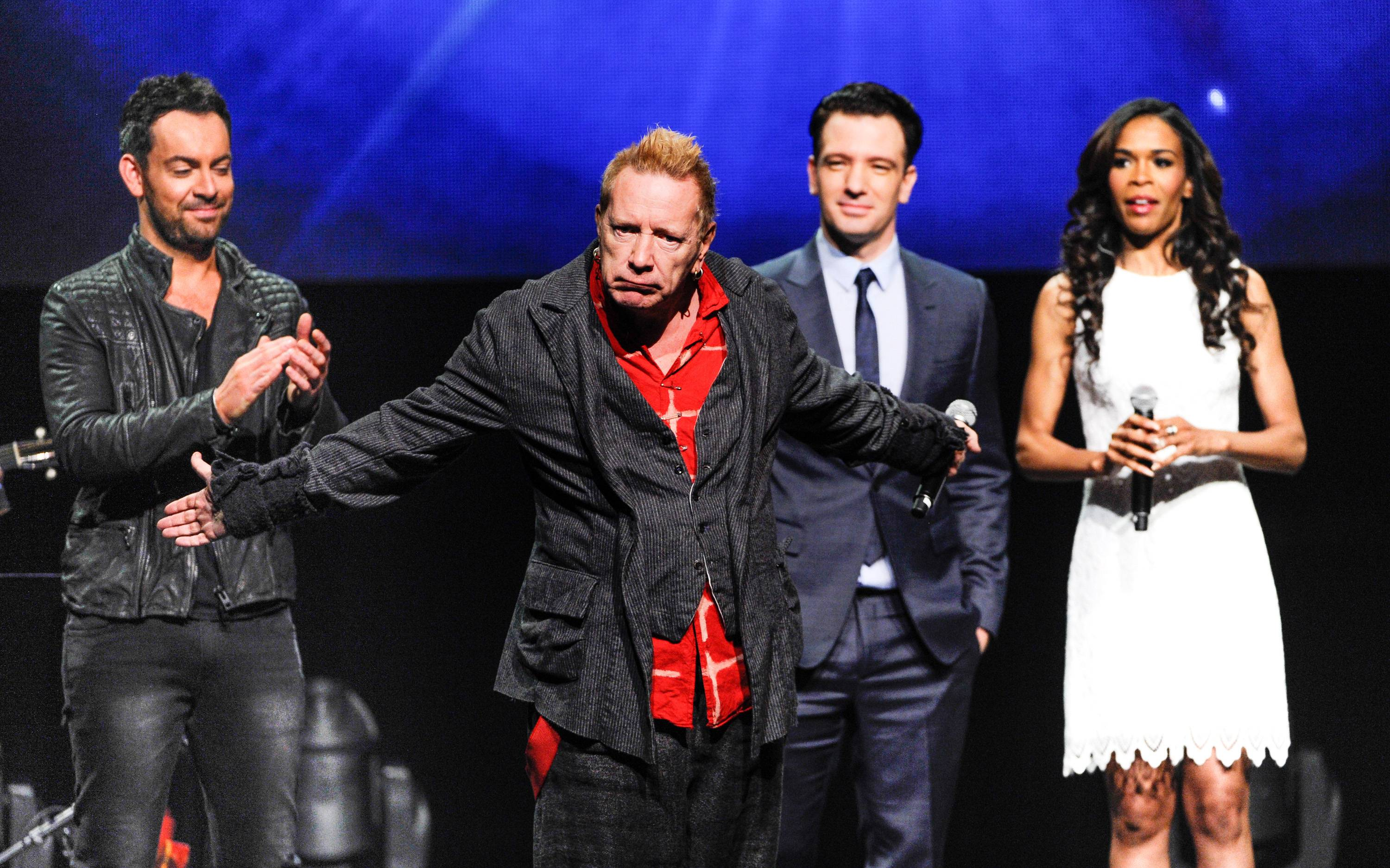 "Singer John Rotten Lydon, center, steals the show as Ben Forster, left, JC Chasez and Michelle Williams look on at the ""Jesus Christ Superstar"" arena spectacular press performance to announce a North American arena tour Friday in New York."