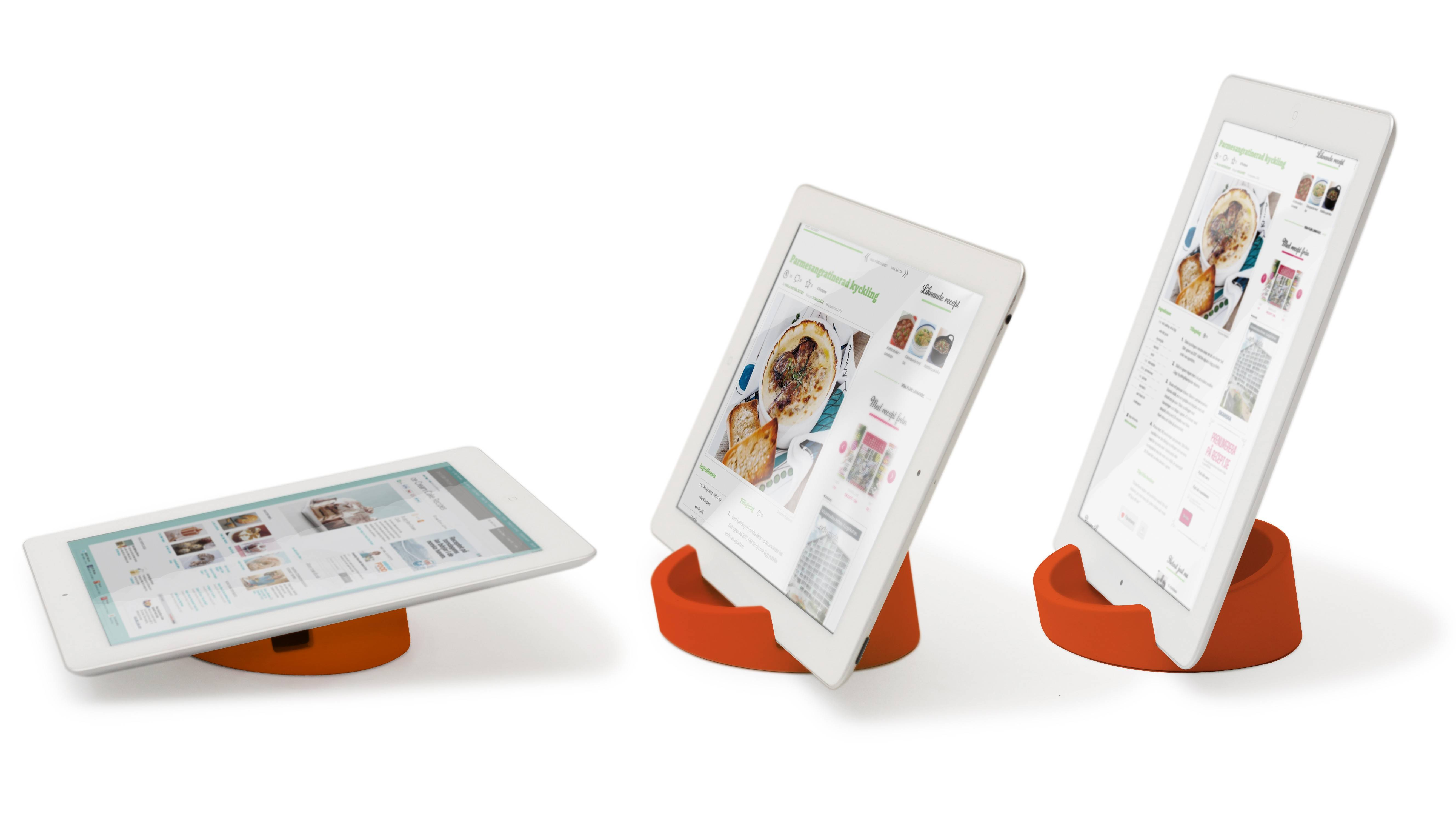 Bosign tablet stands come in handy for reading online recipes in the kitchen.