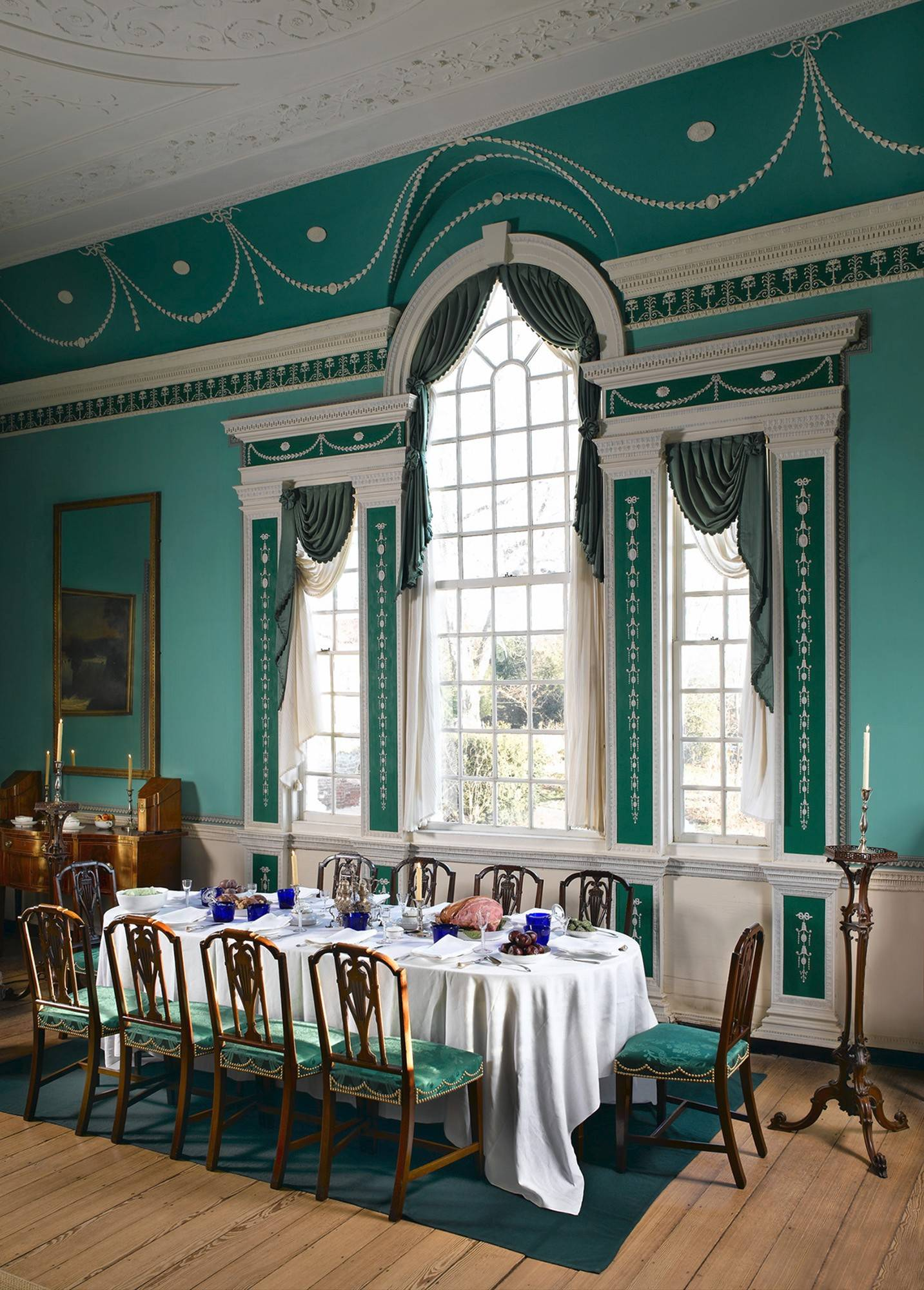 In a 2005 photo, the largest room in Mount Vernon, which has a grand Palladian window, is set up for dinner.