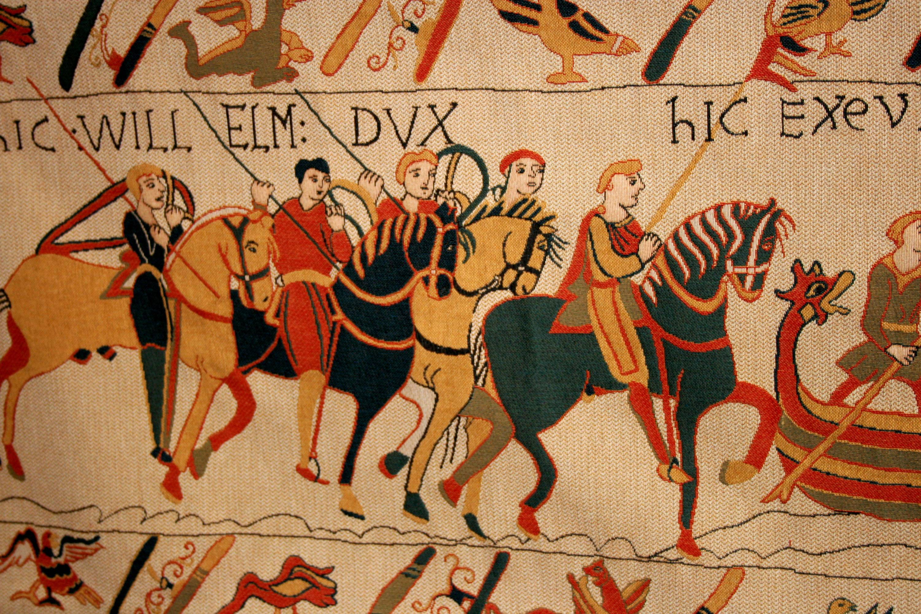 The nearly 1,000-year-old treasure, the Bayeux Tapestry, which is actually more of an embroidered scroll, depicts the story of how William, the duke of Normandy, became king of England.