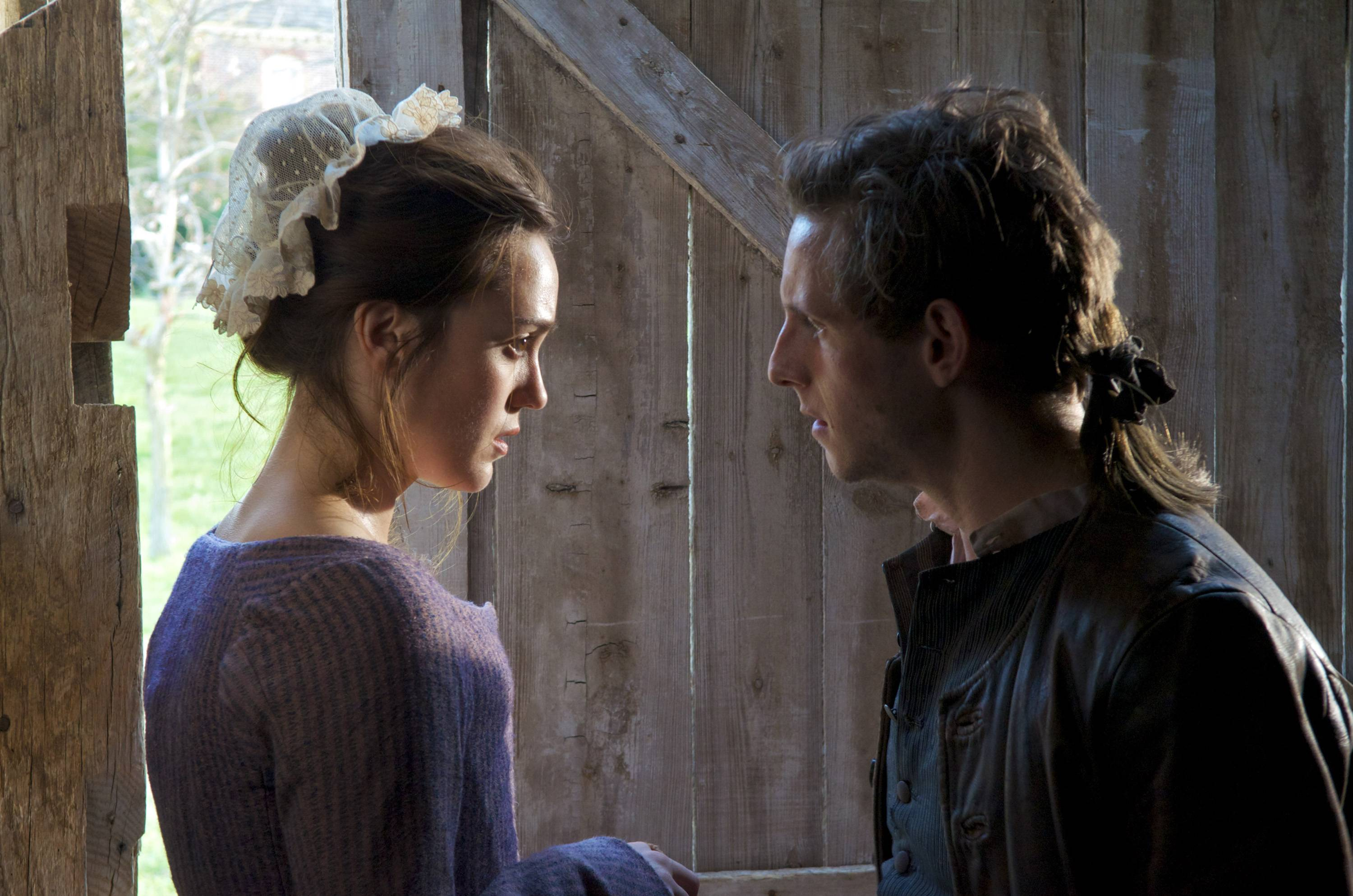 "Anna Strong (Heather Lind) and former fiancee Abraham Woodhull (Jamie Bell) are reunited by a common cause in AMC's Revolutionary War drama ""Turn."""