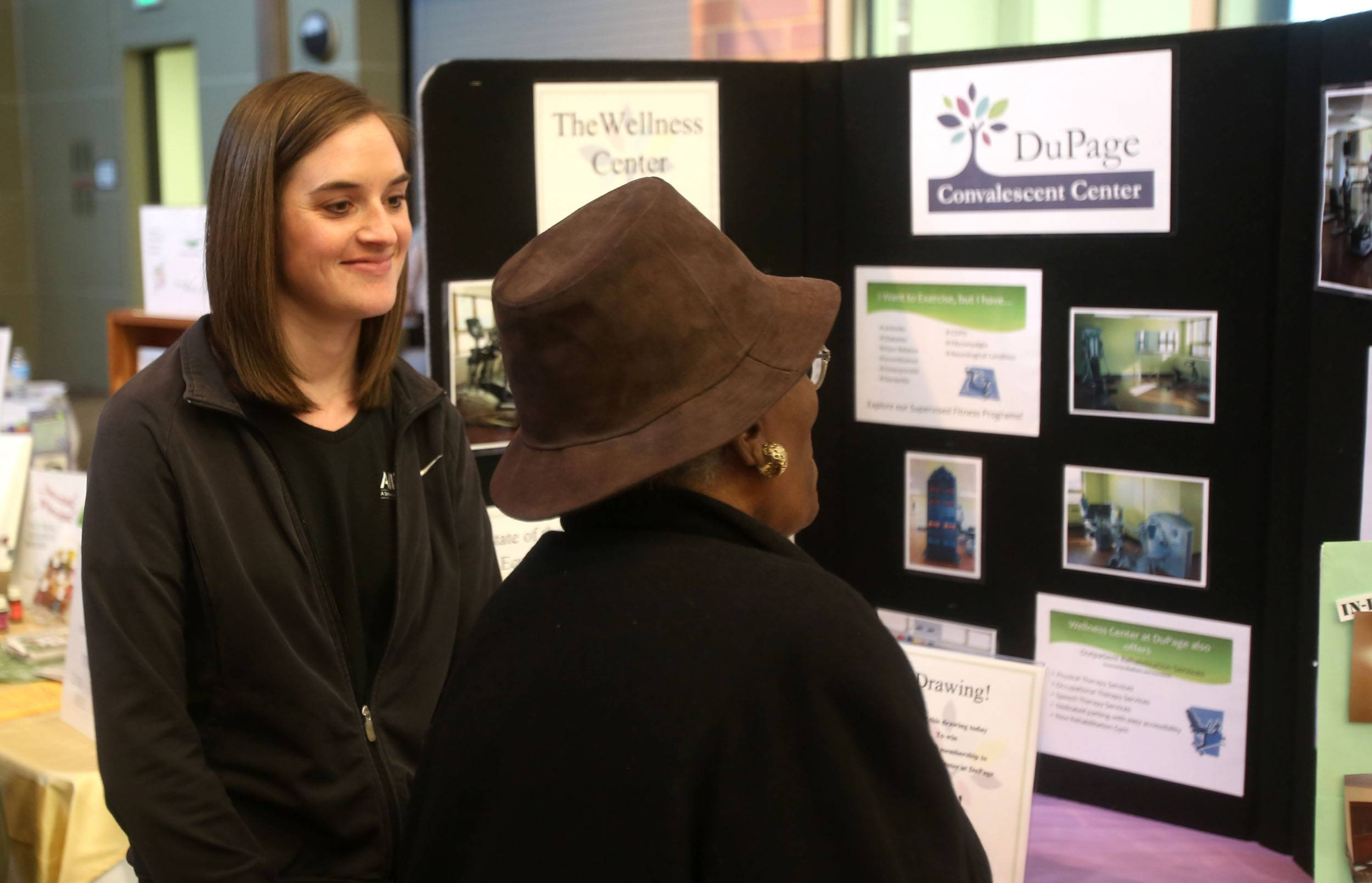 Exercise physiologist Lauren Cleary talks about the DuPage Convalescent Center on Sunday during the second annual Age Well DuPage at the College of DuPage. The event provided information to help residents stay physically, mentally and fiscally healthy as they age.