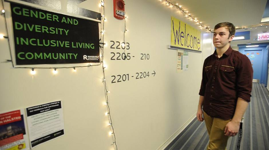 Brandon Rohlwing of West Dundee leads the Gender and Diversity Inclusive Living Community dorm floor at Roosevelt University in Chicago.