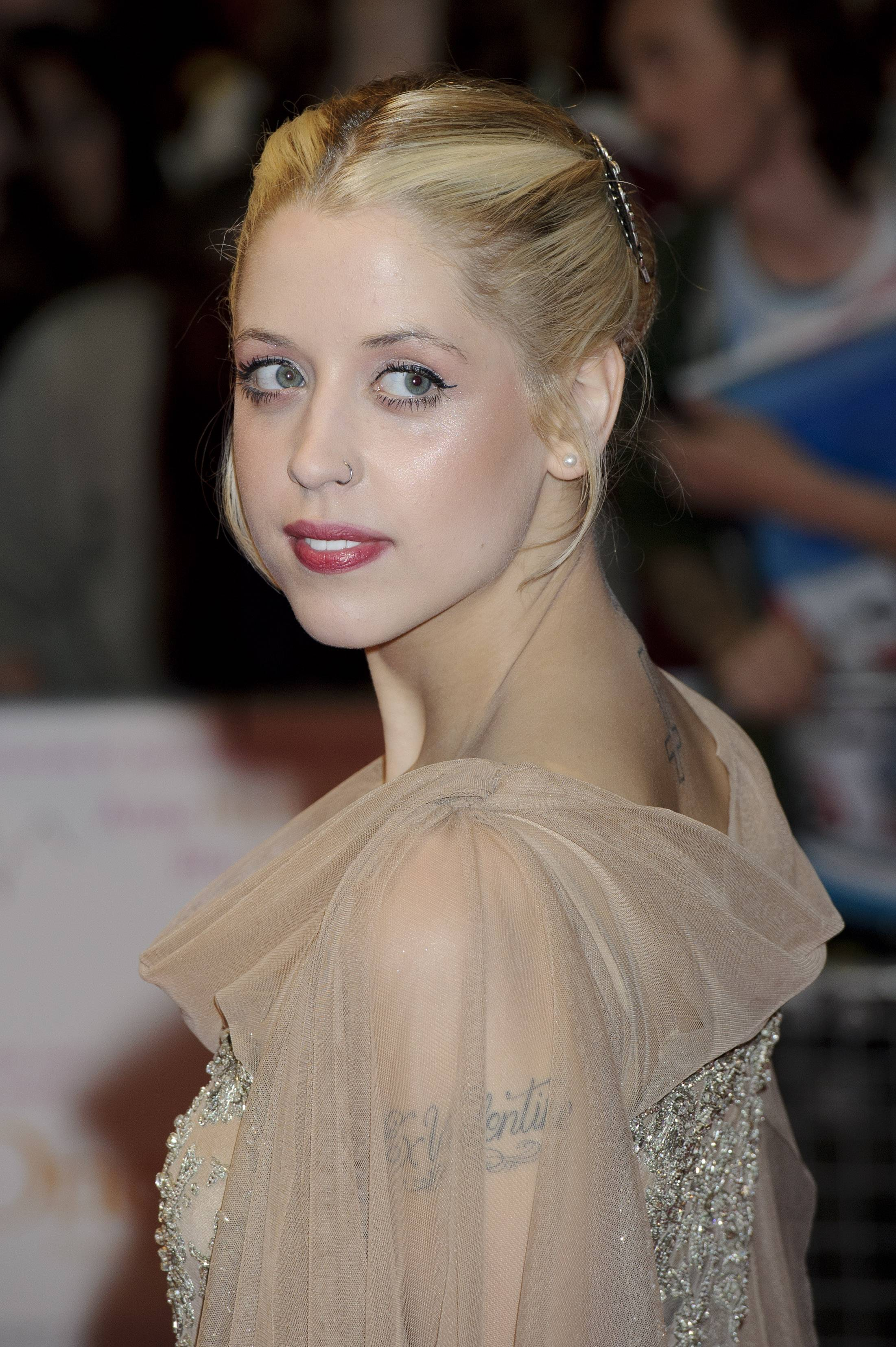 In this Tuesday, Aug. 23, 2011, file photo, British personality Peaches Geldof arrives for the European premiere of One Day at a central London venue. Entertainer Bob Geldof's agent said on Monday, April 7, 2014,  his 25-year-old daughter Peaches has died.