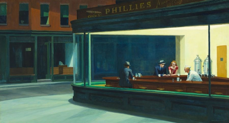 "This image provided by the Art Institute of Chicago via Art Everywhere shows Edward Hopper's 1942 ""Nighthawks."""