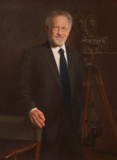 This is a photo of the portrait artist William Chambers created of Steven Spielberg.