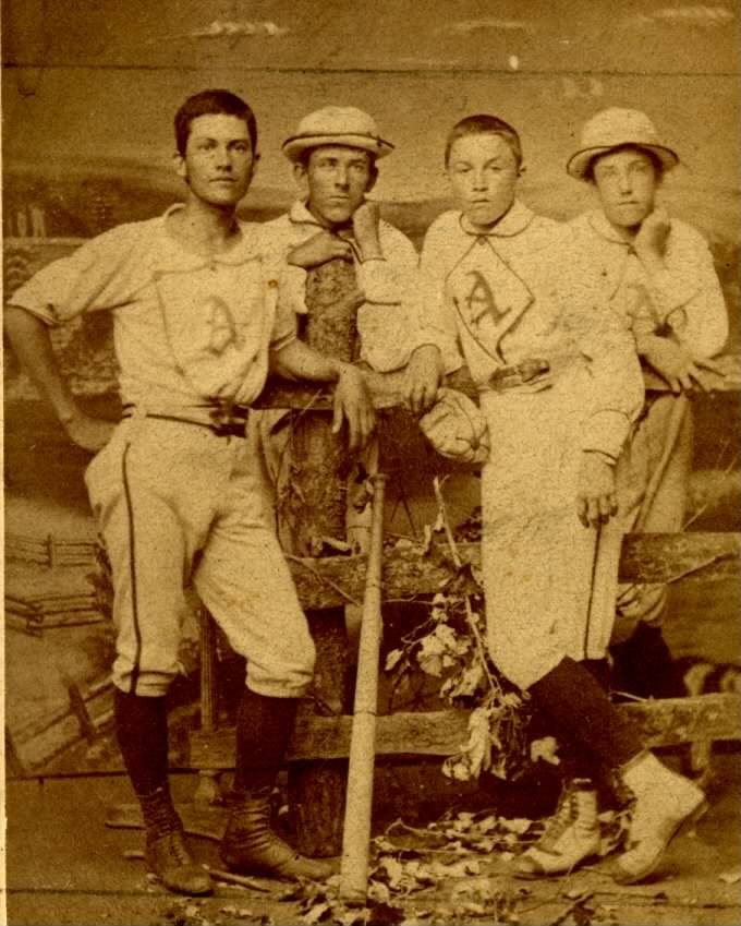 "The Aurora Historical Society is collecting baseball and softball memorabilia -- such as this photo of the Aurora Town Club baseball team in the early 1870s -- for an upcoming exhibit called ""Play Ball, Aurora!"""