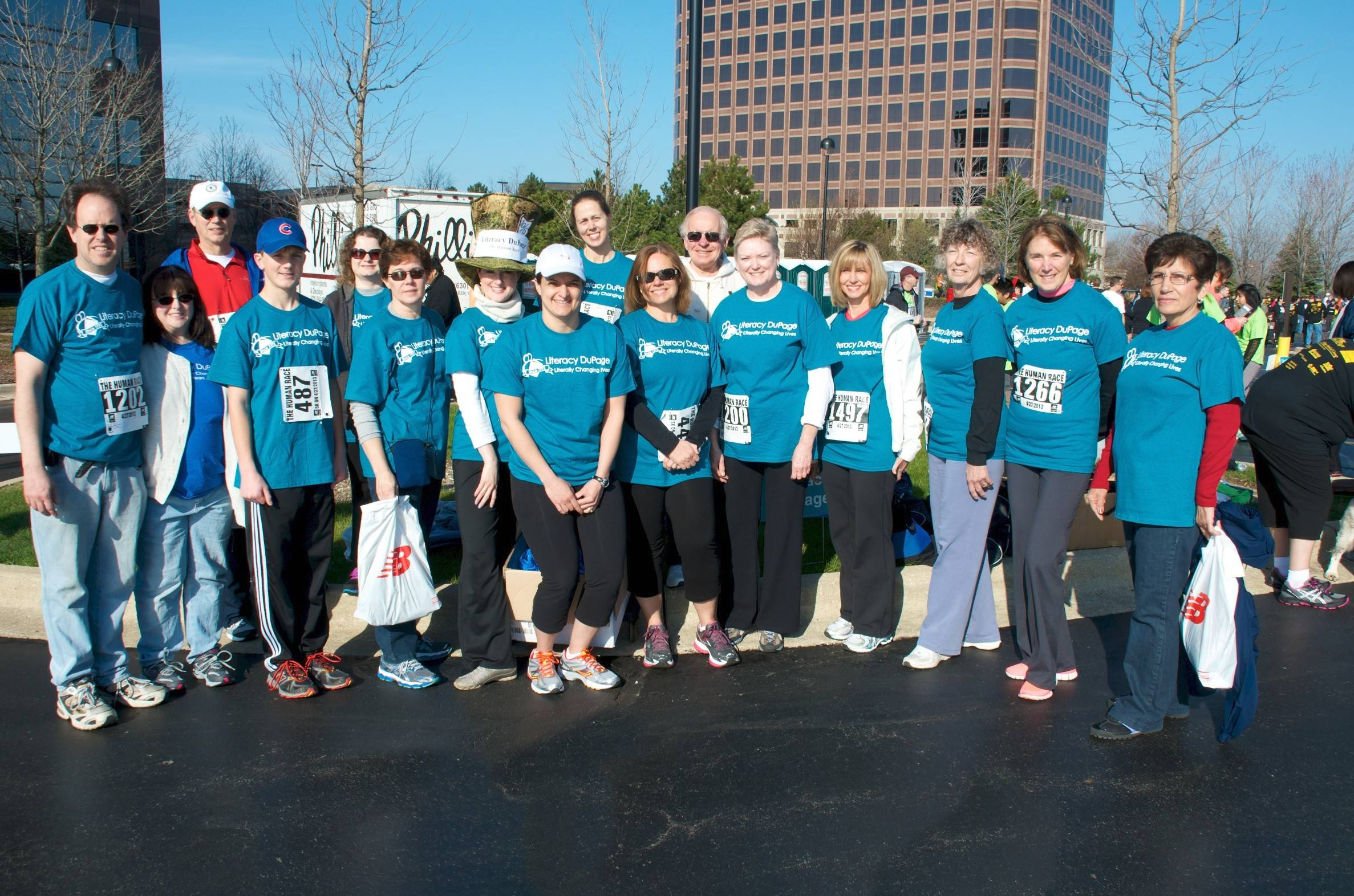 Linda Kulikowski of Woodridge, third from right, is returning to the Human Race in 2014 to support Literacy DuPage. She serves as a volunteer and tutor for the organization.