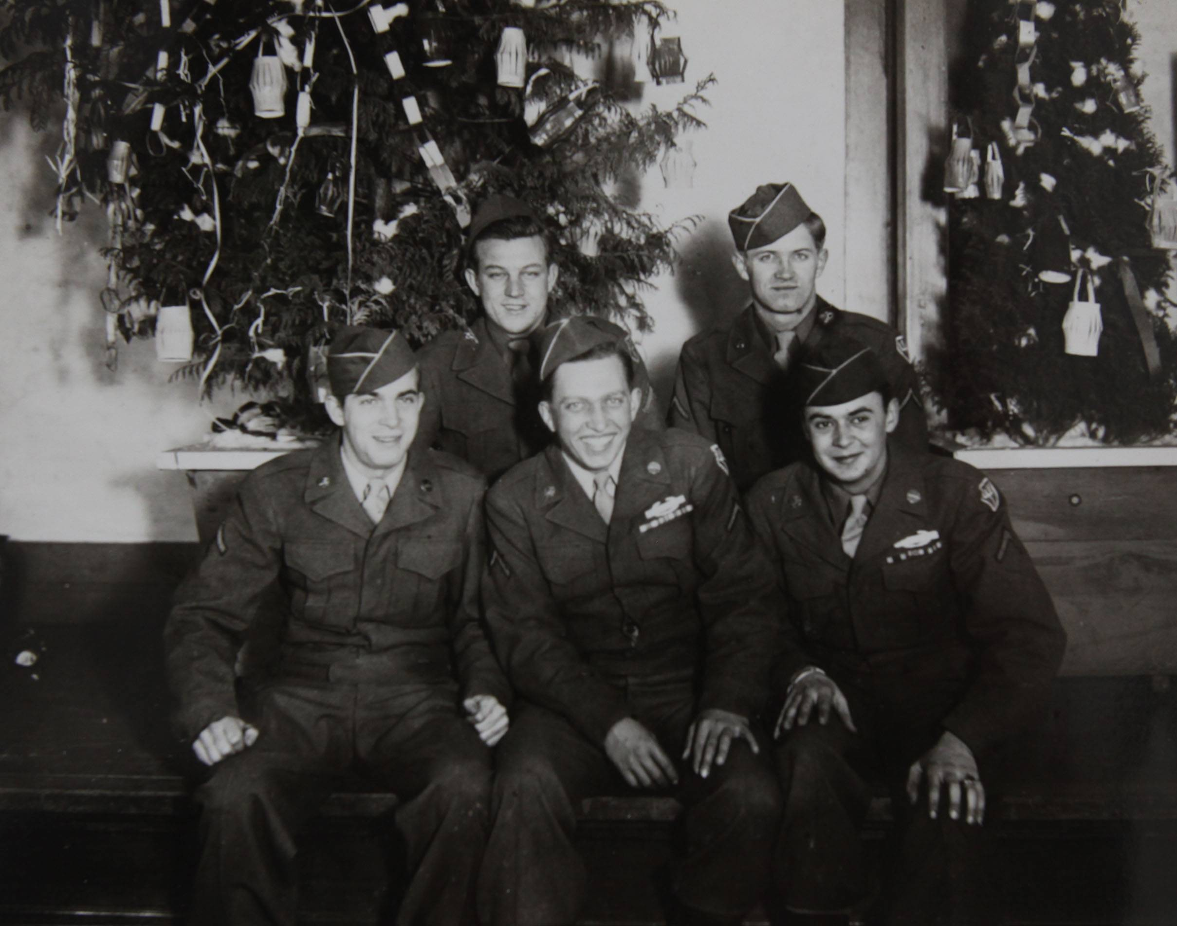 Joe Knupp, front row center, during Christmastime in 1945 in Koriyama, Japan.