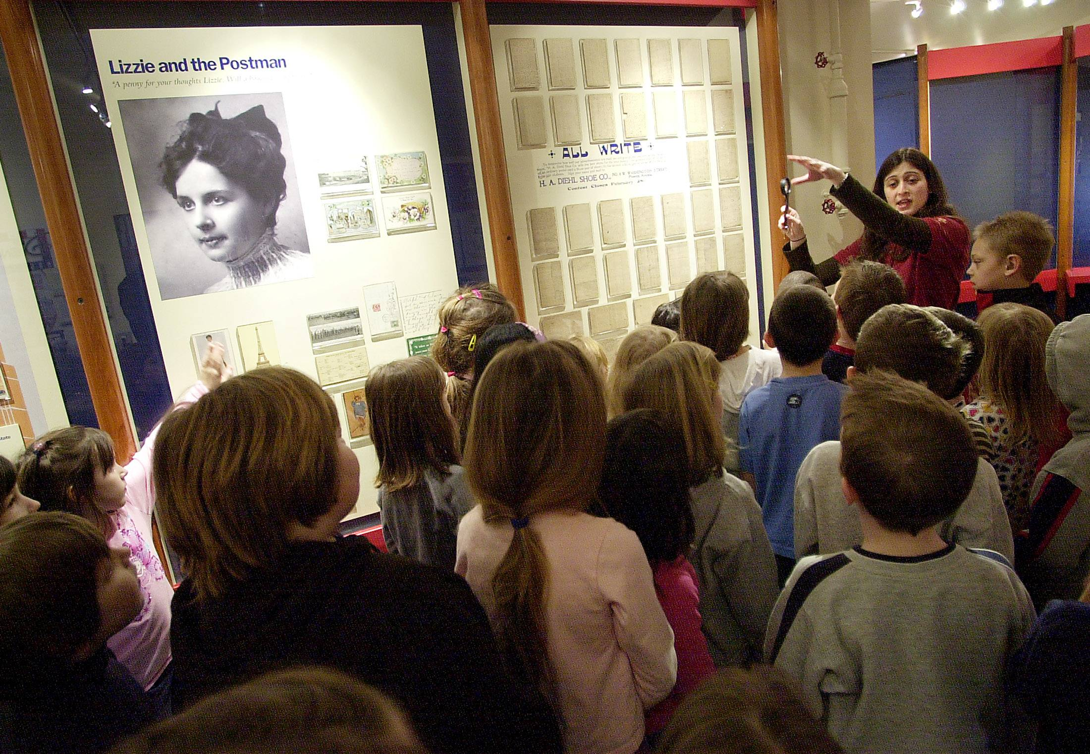 Gavin Central students get a look at the postcard gallery during a 2008 field trip at the Lake County Discovery Museum.