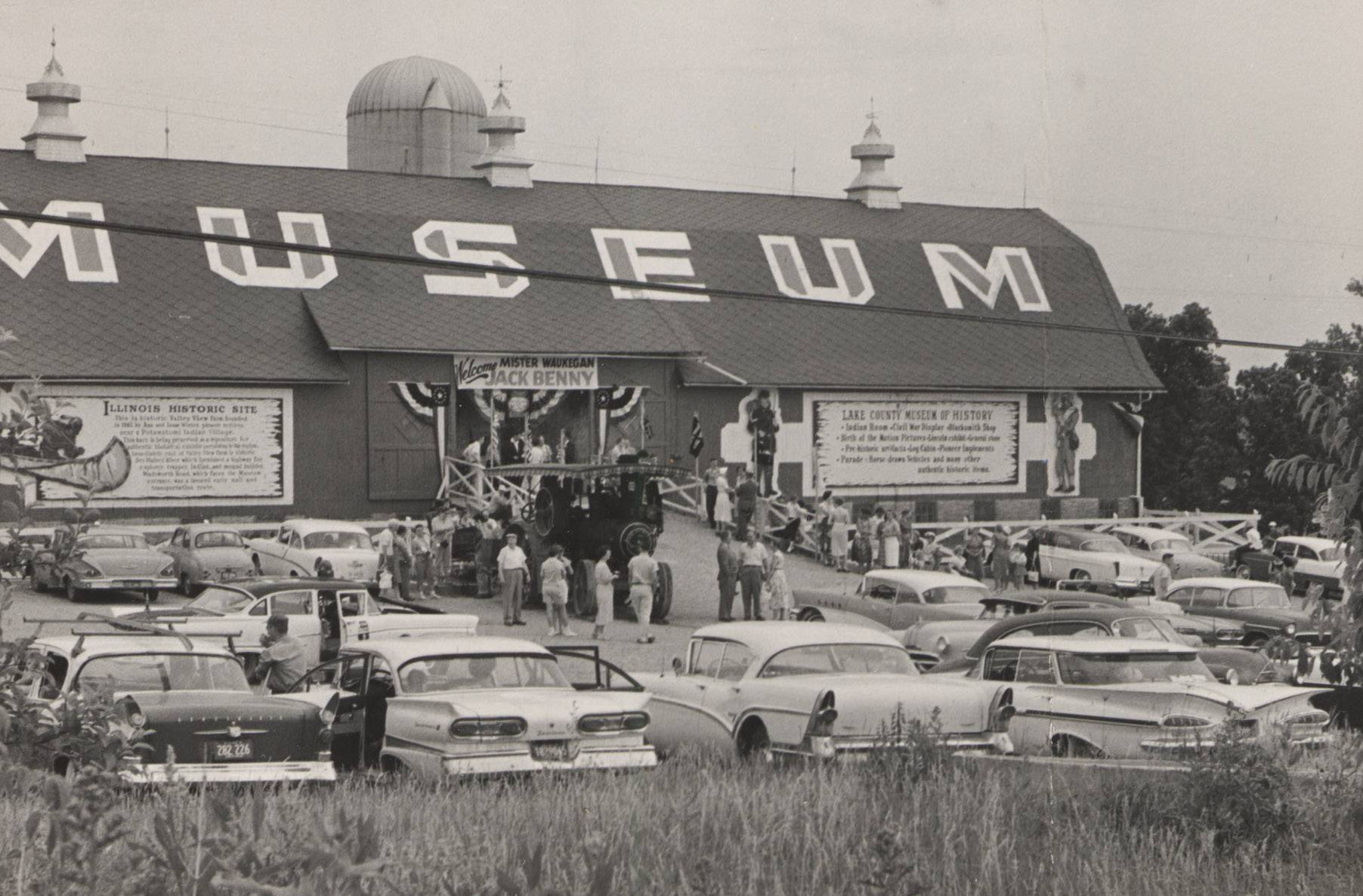 Cars fill the parking lot at the Wadsworth Road Museum of History, the precursor of the Lake County Discovery Museum.