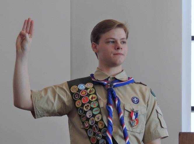 Batavia Boy Scout Matt Kazlauski takes the Eagle Scout Oath