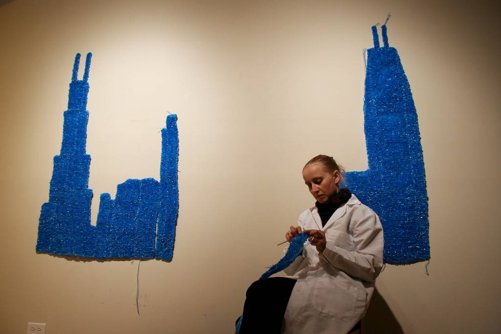 Current West Chicago Cultural Arts Commission chair Anni Holm pictured working on Plasti-City piece in 2008. Photo credit Tony Abasolo.