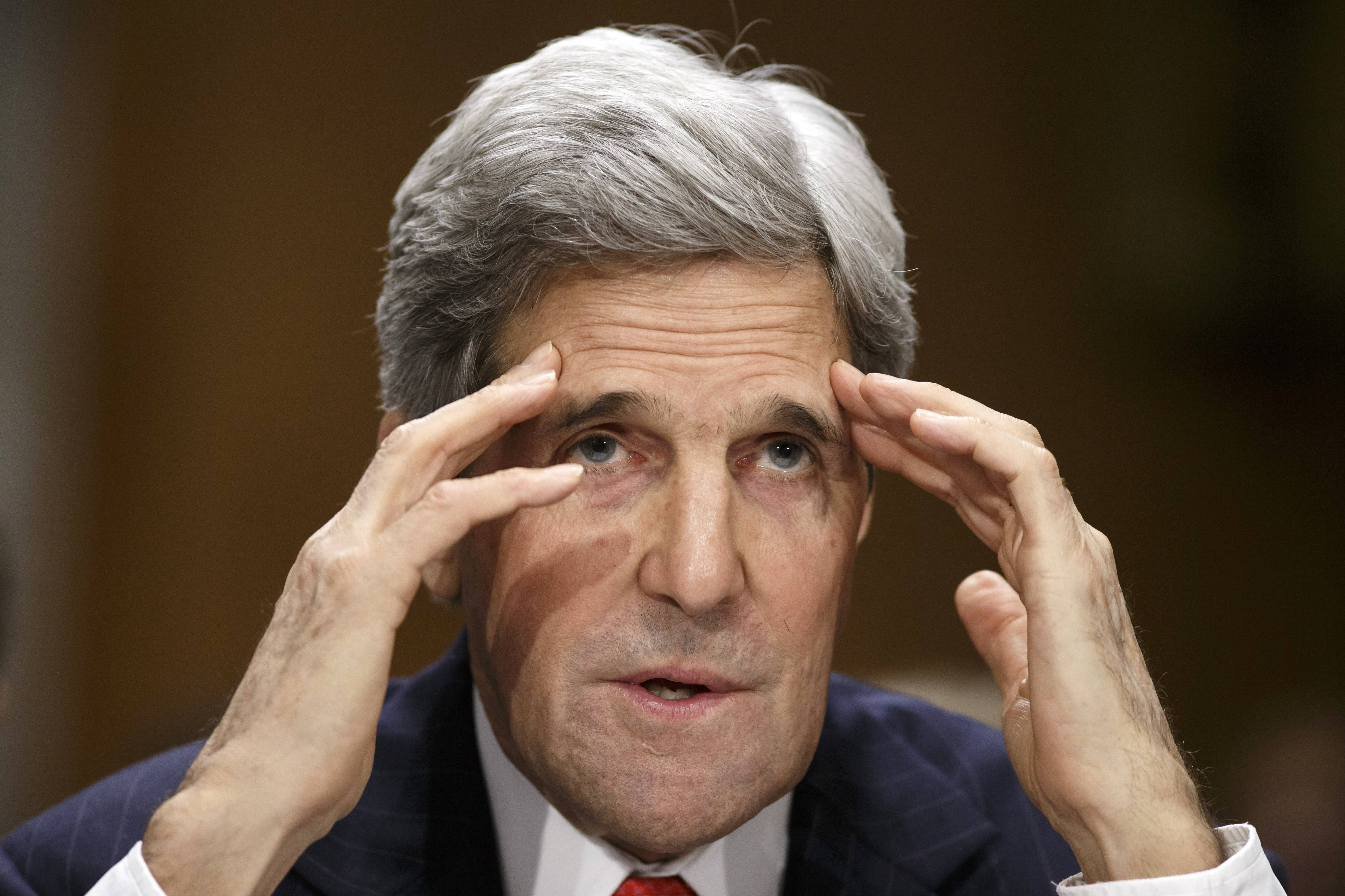 ASSOCIATED PRESS Secretary of State John Kerry testifies on Capitol Hill Tuesday before the Senate Foreign Relations Committee to discuss his budget and the status of diplomatic hot spots. Lawmakers' questions focused on Russia, Ukraine, Iran and Syria.