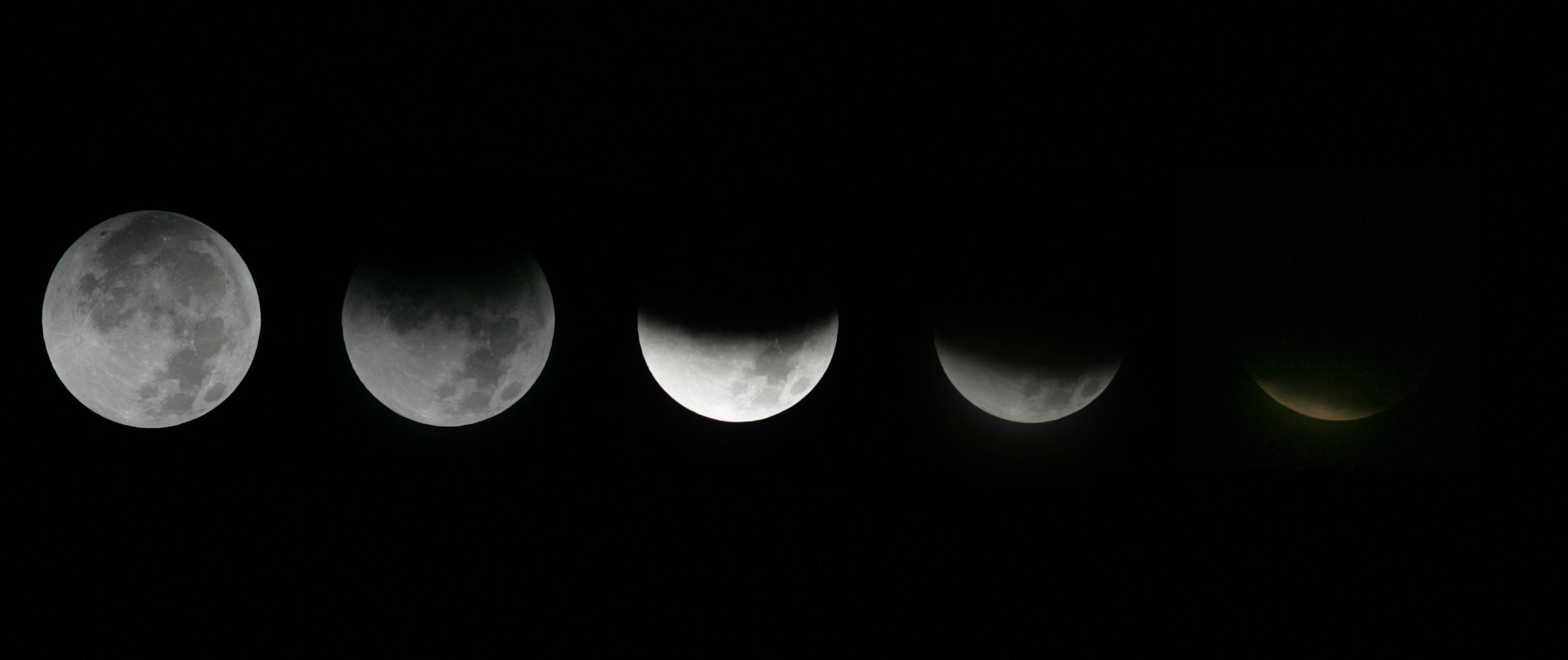This combination of Saturday, Dec. 10, 2011, photos shows the different stages of the moon during a lunar eclipse as seen from the Griffith Observatory in Los Angeles. On Tuesday morning, April 15, the moon will be eclipsed by Earth's shadow and will be visible across the Western Hemisphere. The total phase will last 78 minutes.