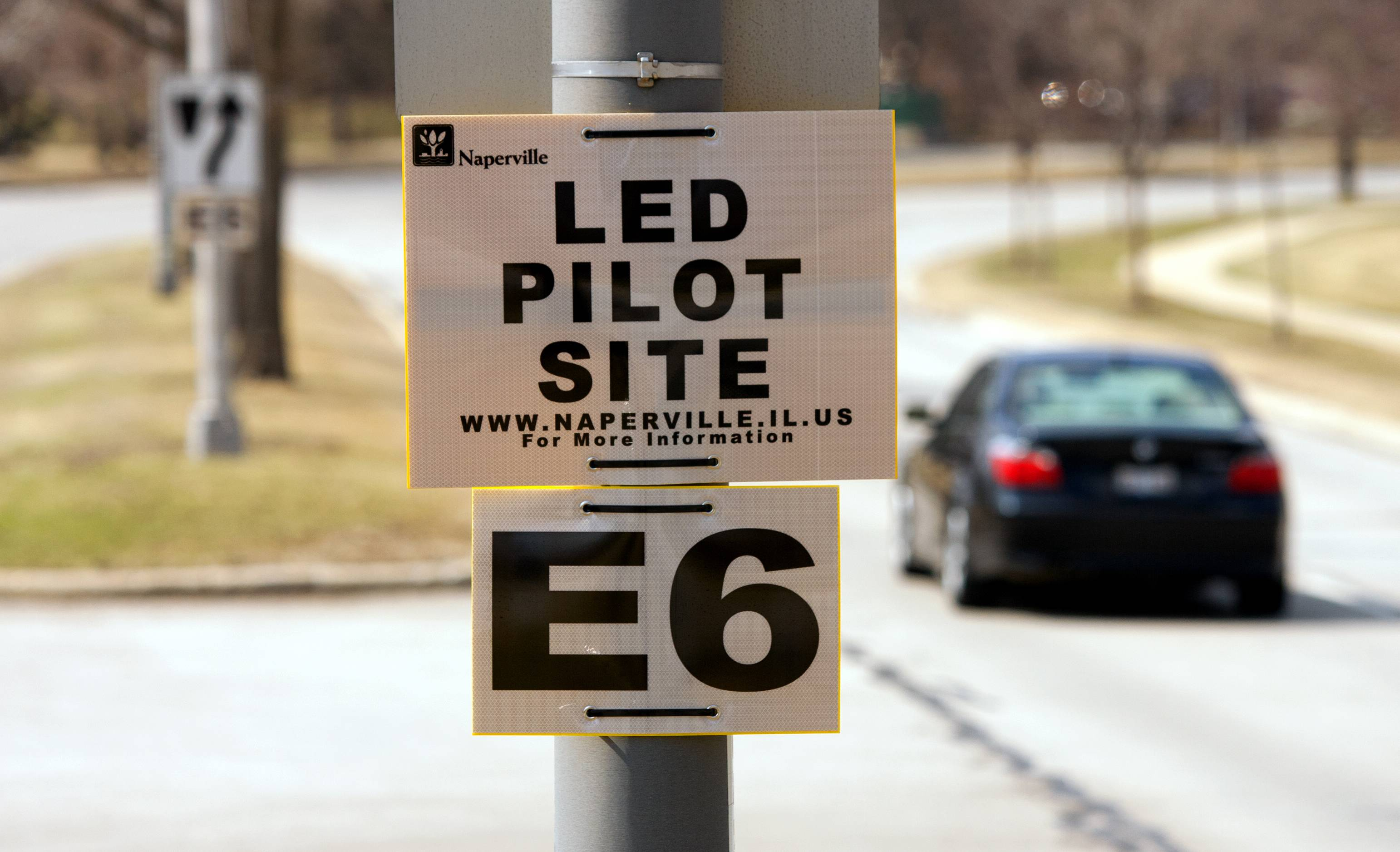 Naperville is testing varieties of LED lights from six different vendors before choosing which to install throughout the city during the next years. Serving as one test area for the new lights is this stretch of Diehl Road west of Washington Street.