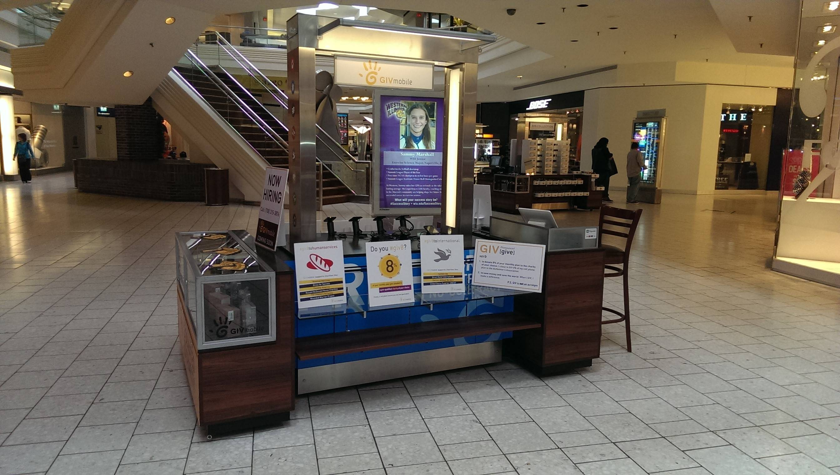 GIV Mobile has opened this kiosk last week in Woodfield Mall in Schaumburg. The company's first kiosk opened in mid-March in Yorktown Mall in Lombard.