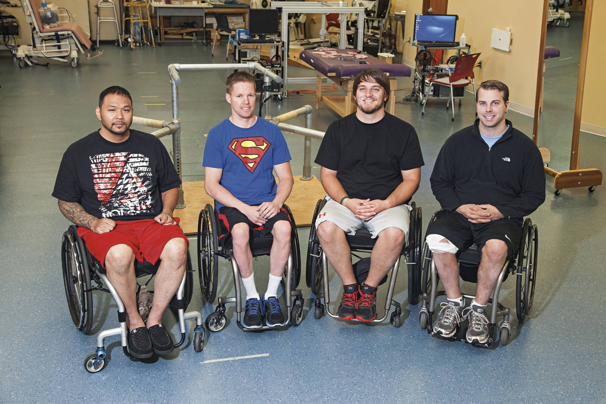 Andrew Meas, Dustin Shillcox, Kent Stephenson and Rob Summers, the first four to undergo task-specific training with epidural stimulation at the Human Locomotion Research Center laboratory, Frazier Rehab Institute, as part of the University of Louisville's Kentucky Spinal Cord Injury Research Center.