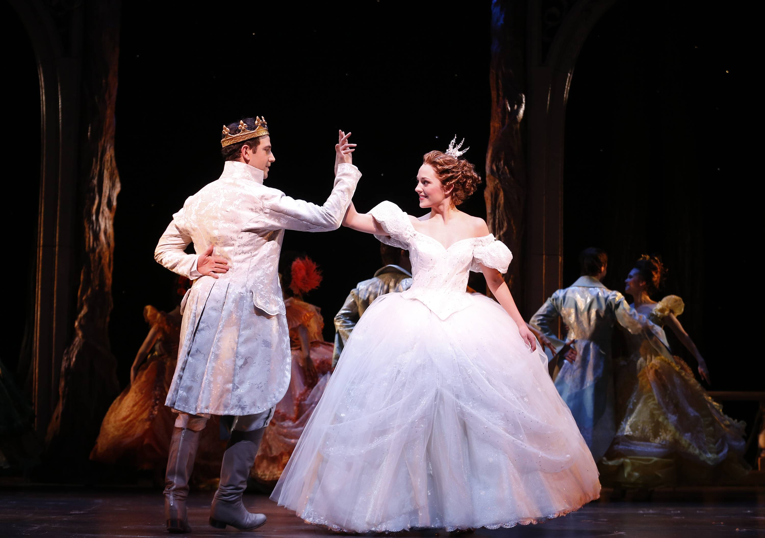 "Laura Osnes as Cinderella dances with Santino Fontana as the Prince during a performance of ""Rodgers + Hammerstein's Cinderella on Broadway."" Three musicals have added Thursday matinees to their eight-show weeks in an attempt to offer more options to audience-goers and stand out from the rest of the pack."