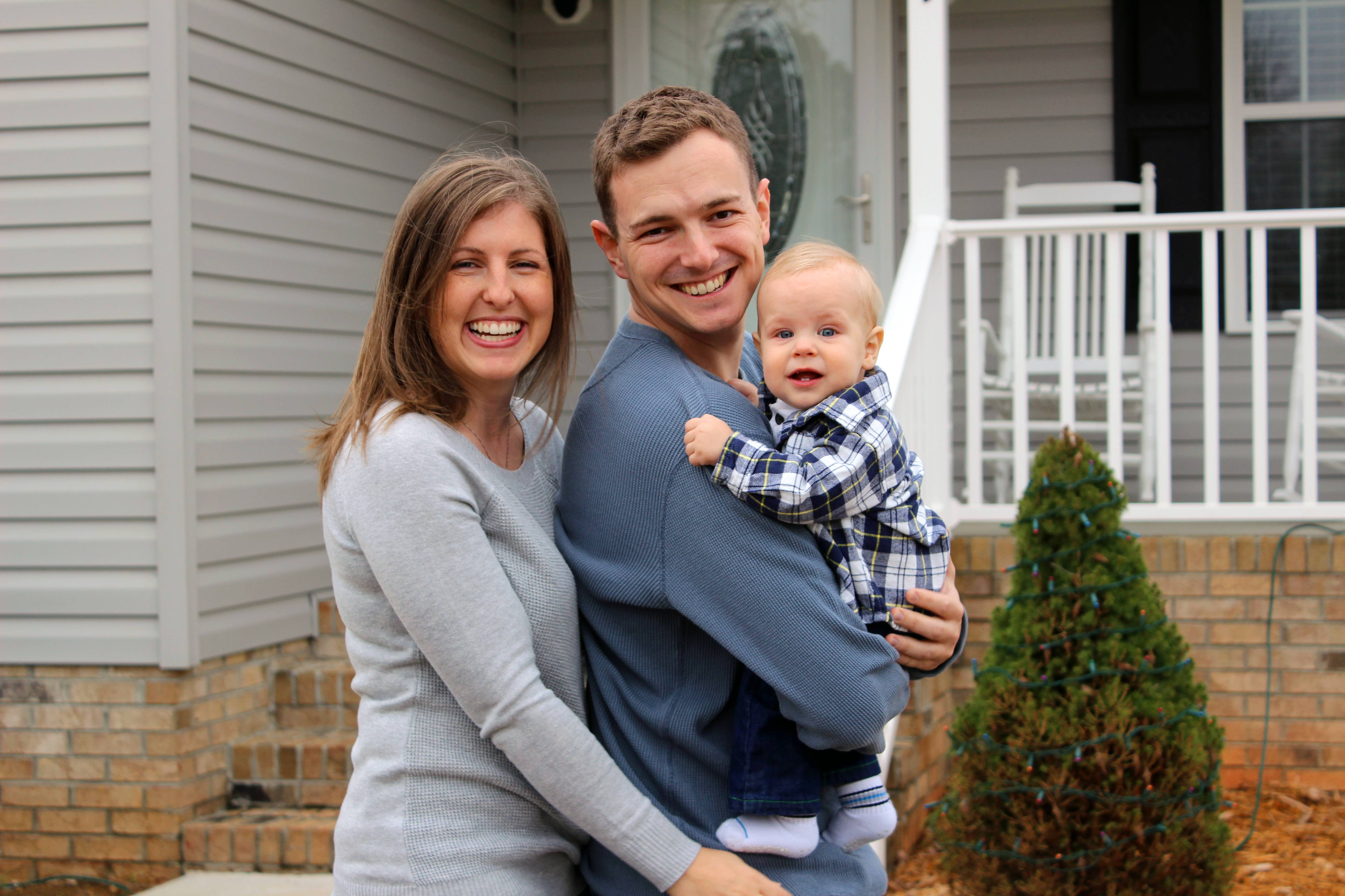 This is the Williamson family: from left, wife Tricia Williamson, husband Mike Williamson and their 1-year-old son Adam. Tricia, 30, quit her job as an editor and producer at a TV station after crunching the numbers and realizing her salary after the birth of her son a year ago would go primarily to her commuting and child care expenses.