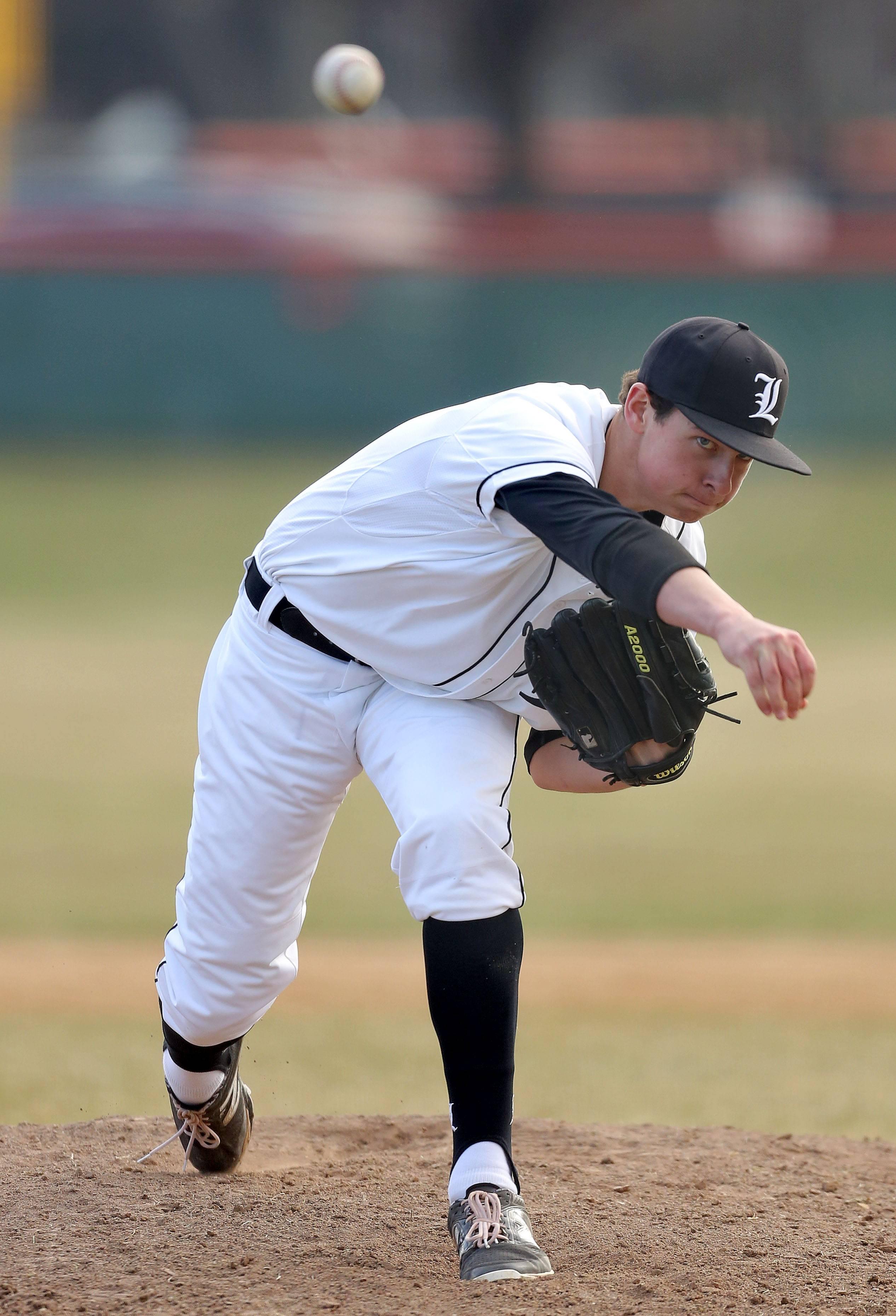 Libertyville's Jeff Barton pitches during their win over Stevenson Tuesday at Libertyville High School.