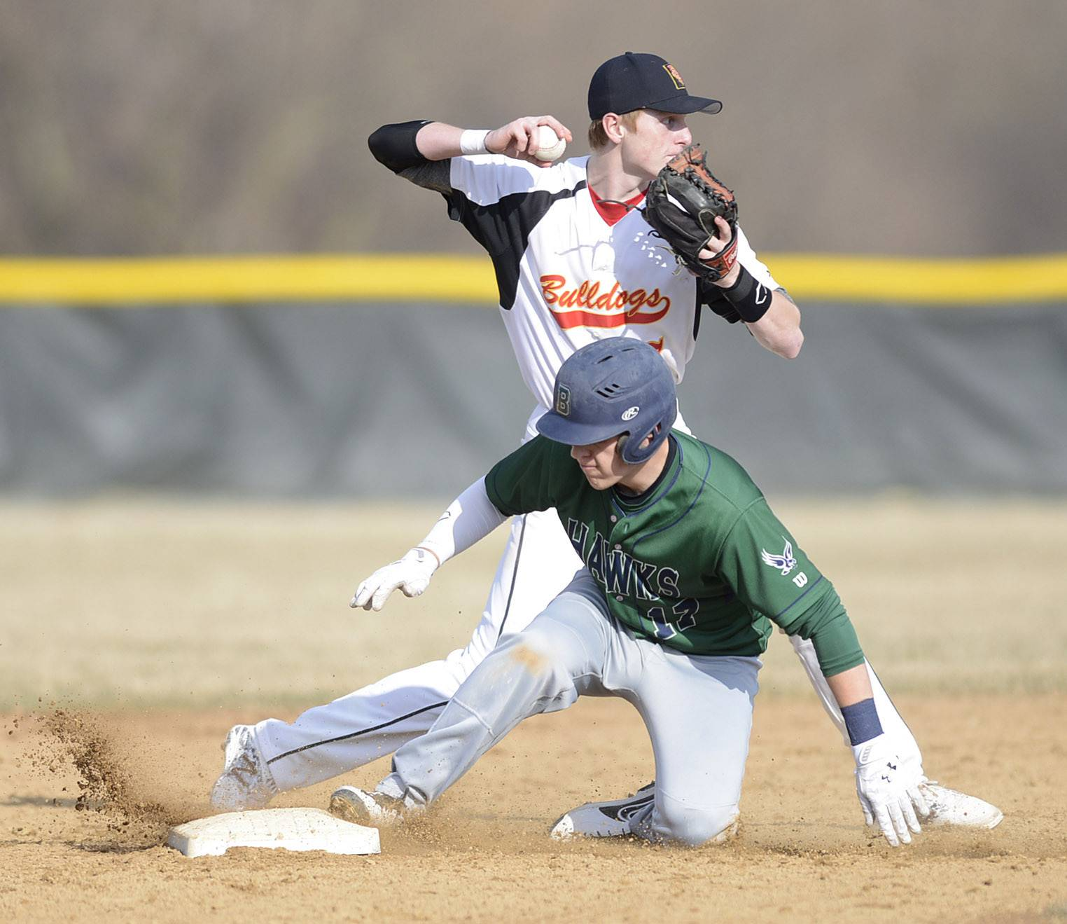 Bartlett's Tripp Paris is out at second base by Batavia's Andrew Siegler in the third inning on Tuesday, April 8.