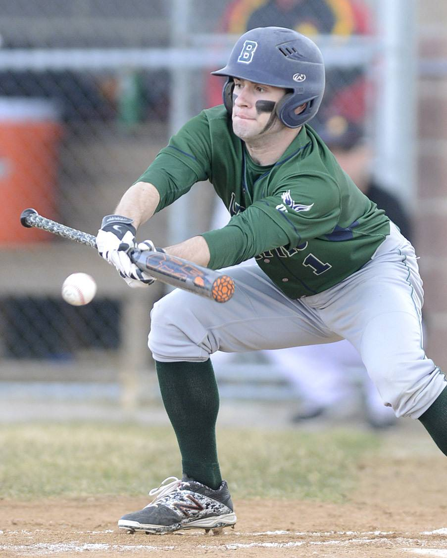 Bartlett's Mike Wick bunts the ball in the first inning vs. Batavia on Tuesday, April 8.