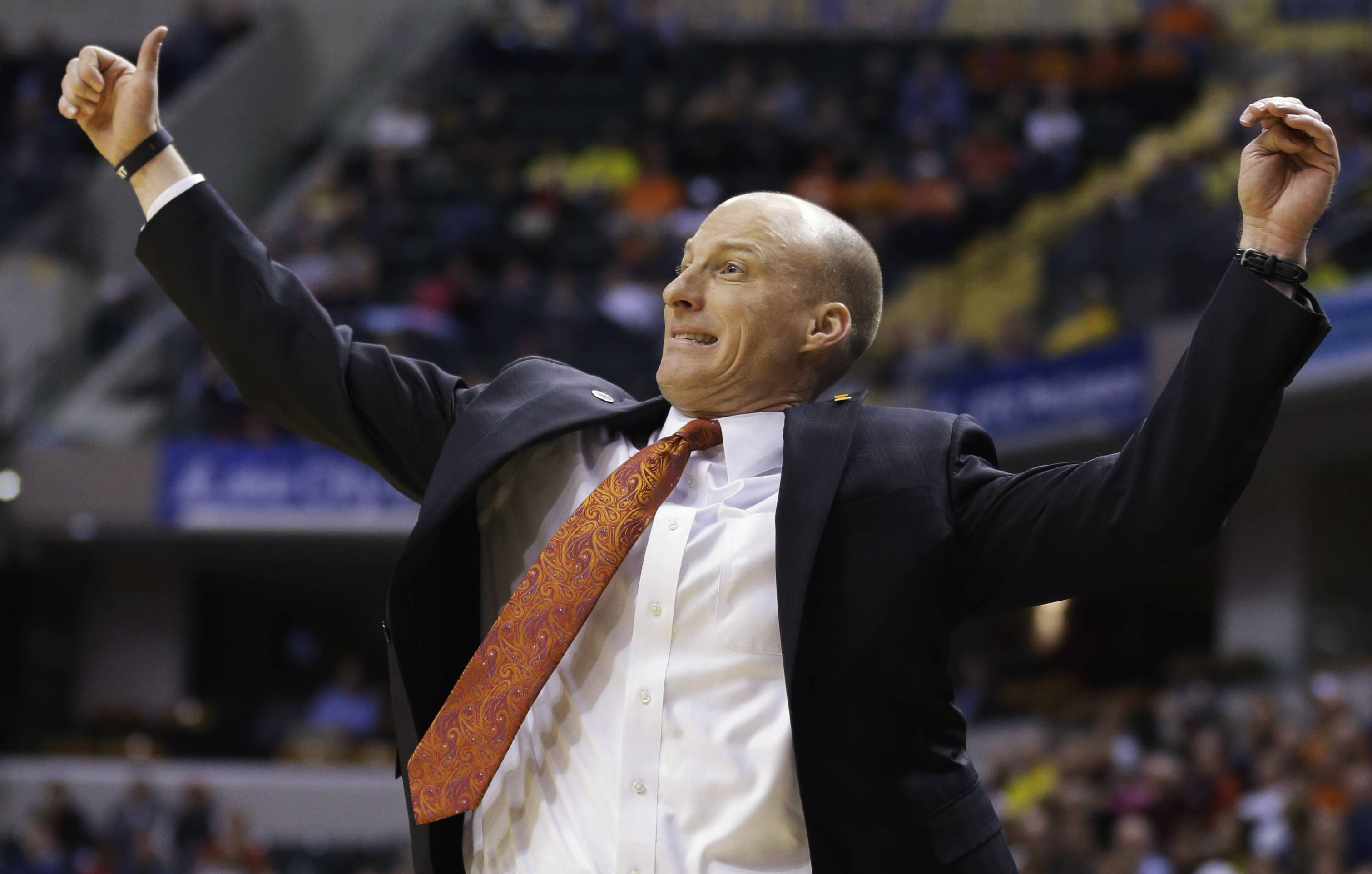 Illinois head coach John Groce reacts to a play against Michigan in the quarterfinals of the Big Ten Conference tournament last month in Indianapolis