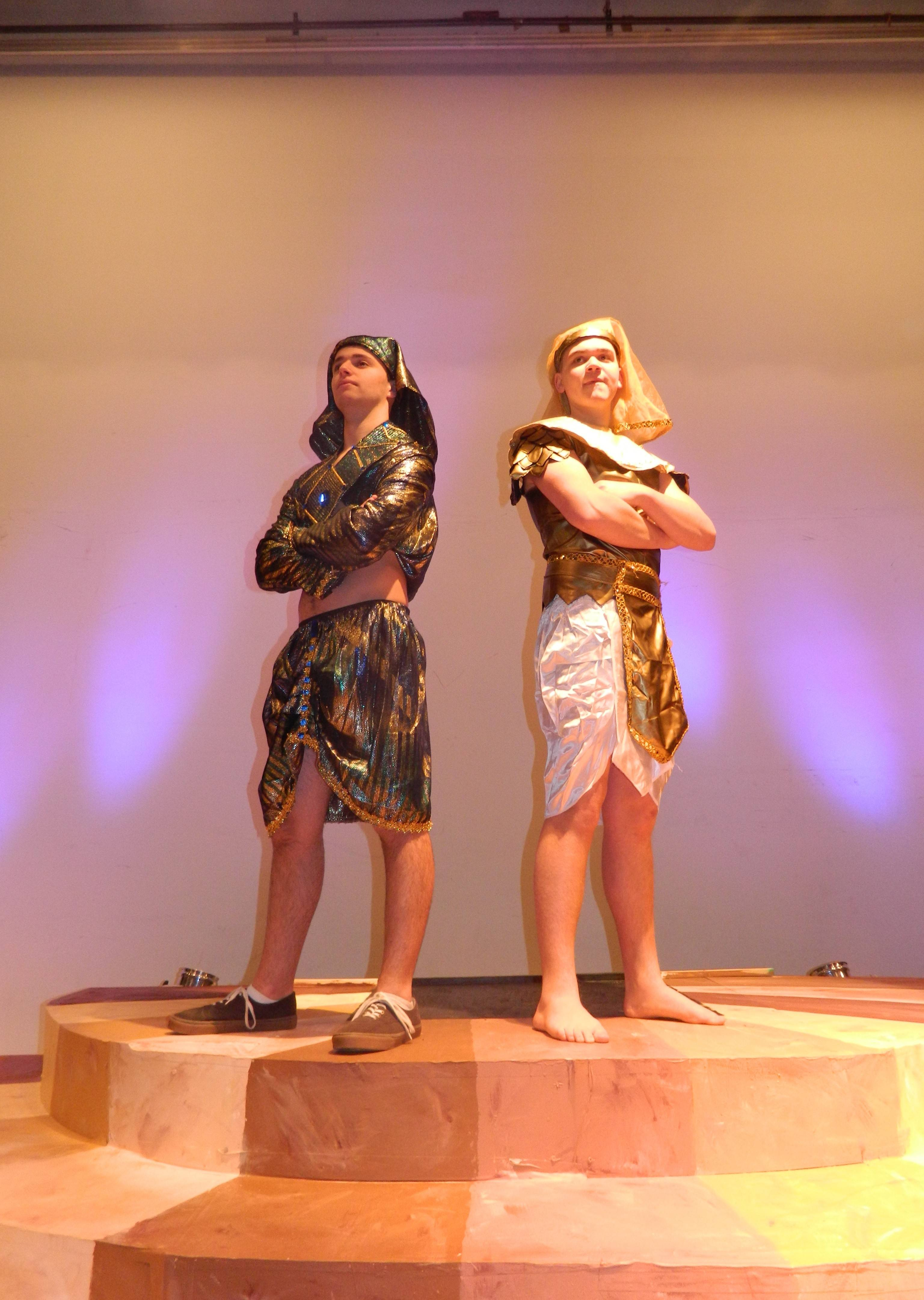 "Cole Festenstein as Pharaoh and Brian McCallister as Joseph rehearse a scene for the musical ""Joseph"" at Buffalo Grove High School."