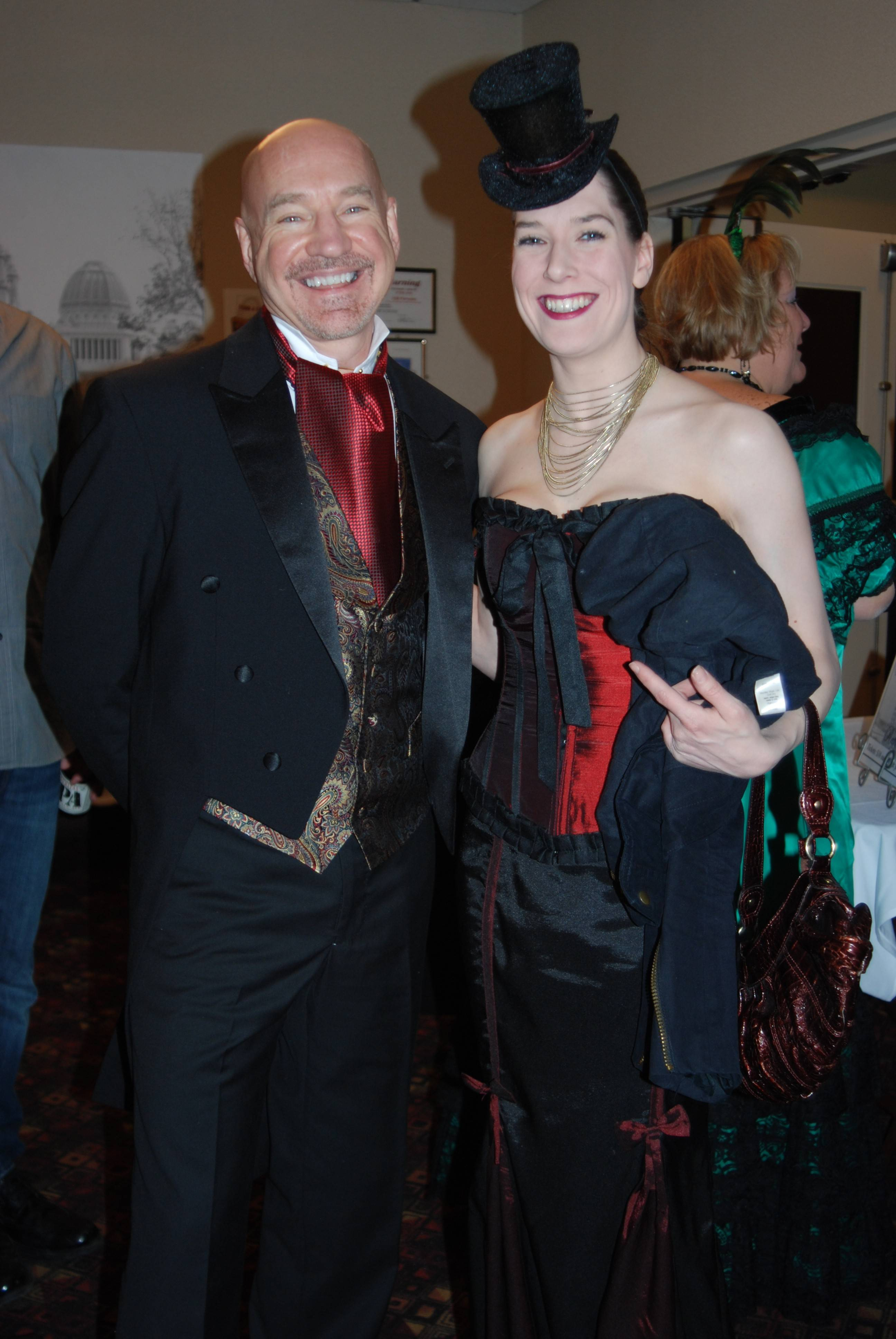 Tim Loga of Mount Prospect and his stepdaughter, Brittany White of Arlington Heights, got into the spirit of the History in the Headlines dinner with authentic costumes from the period of the World's Columbian Exposition, held 120 years ago in Chicago.
