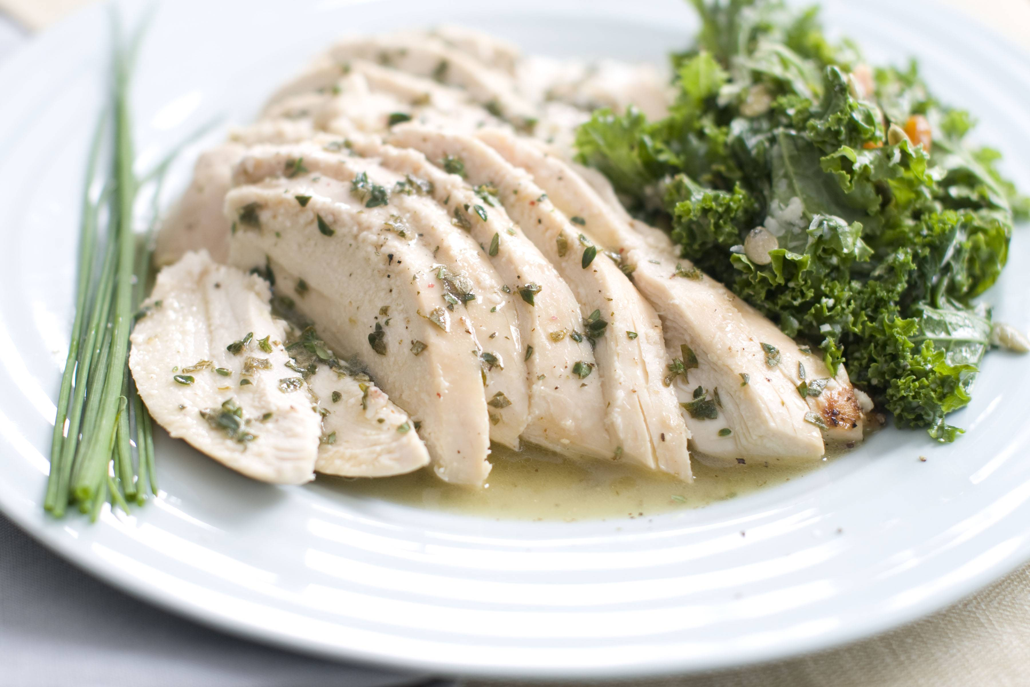 Roasted chicken with fresh herb sauce is a simple, yet elegant entree for spring feasts.