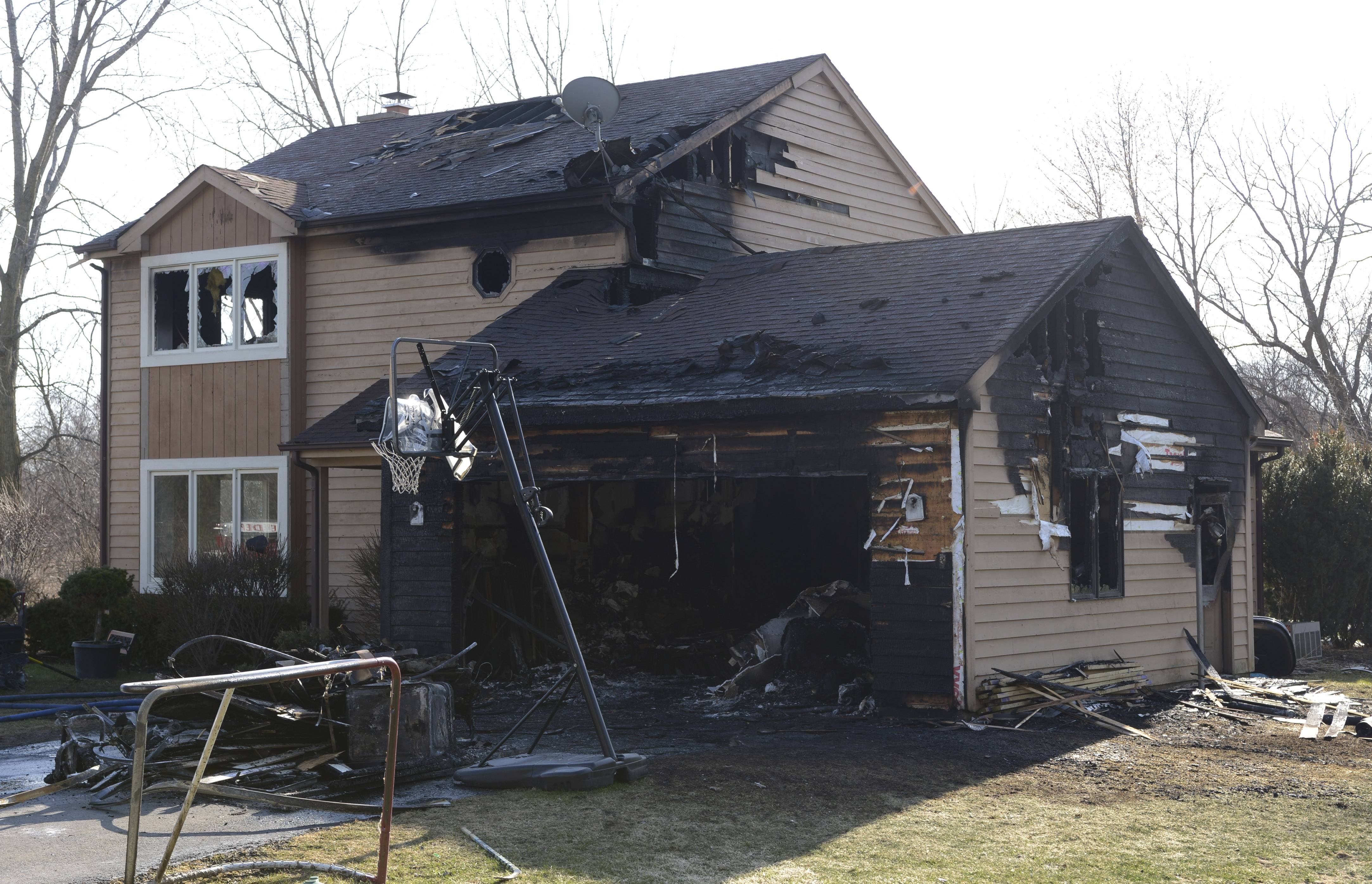 A home at the corner of Grove and Harvard avenues was severely damaged Wednesday afternoon by a fire that started in the garage and spread to the attic in Barrington.
