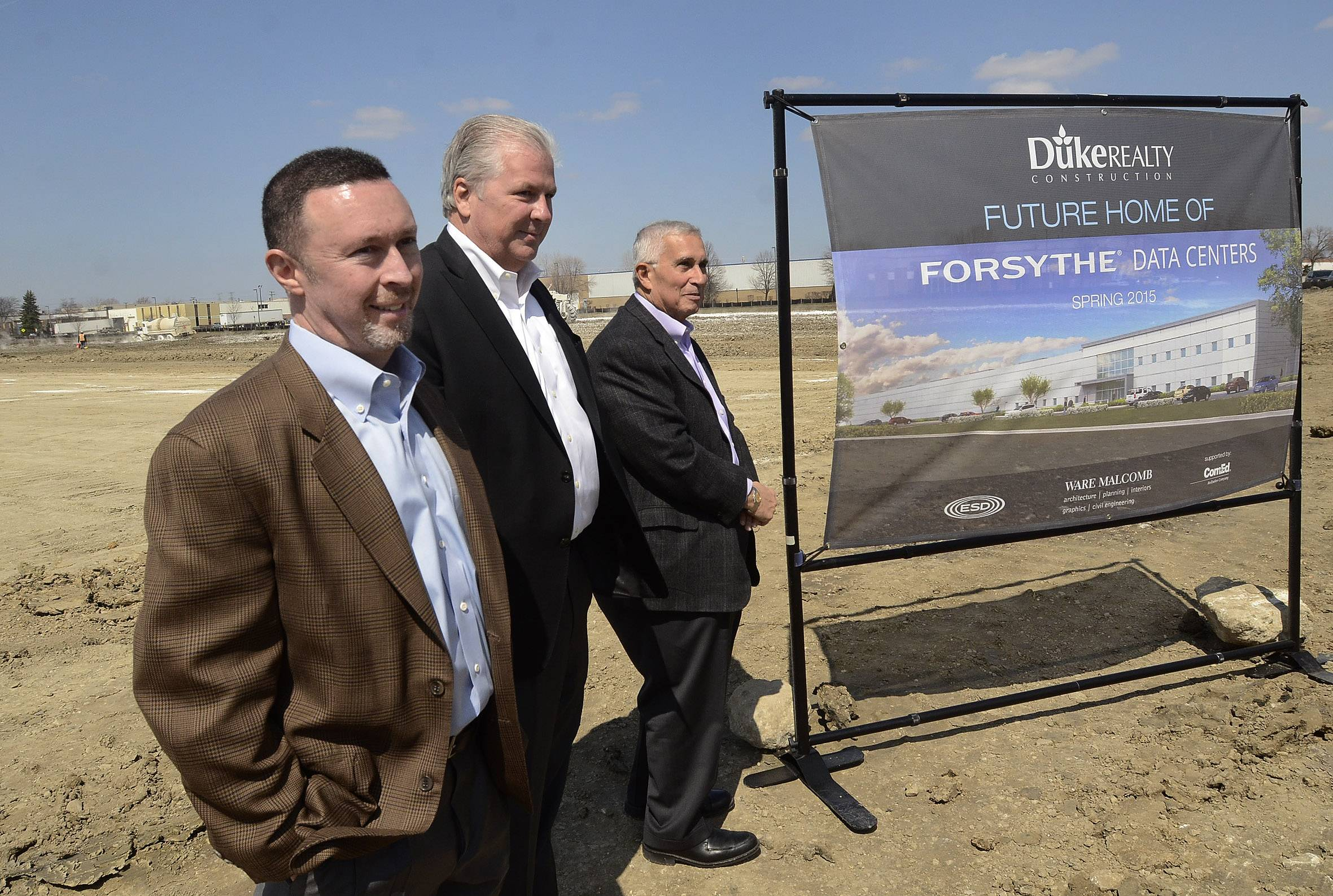 From left, Steve Harris, vice president of Data Center Development, Forsythe Data Centers; Bill Brennan, president and CEO of Forsythe Technology; and Al Weiss, president of Forsythe Data Centers, prepare to break ground Wednesday for the new 221,000-square-foot Forsythe Data Center in Elk Grove Village.