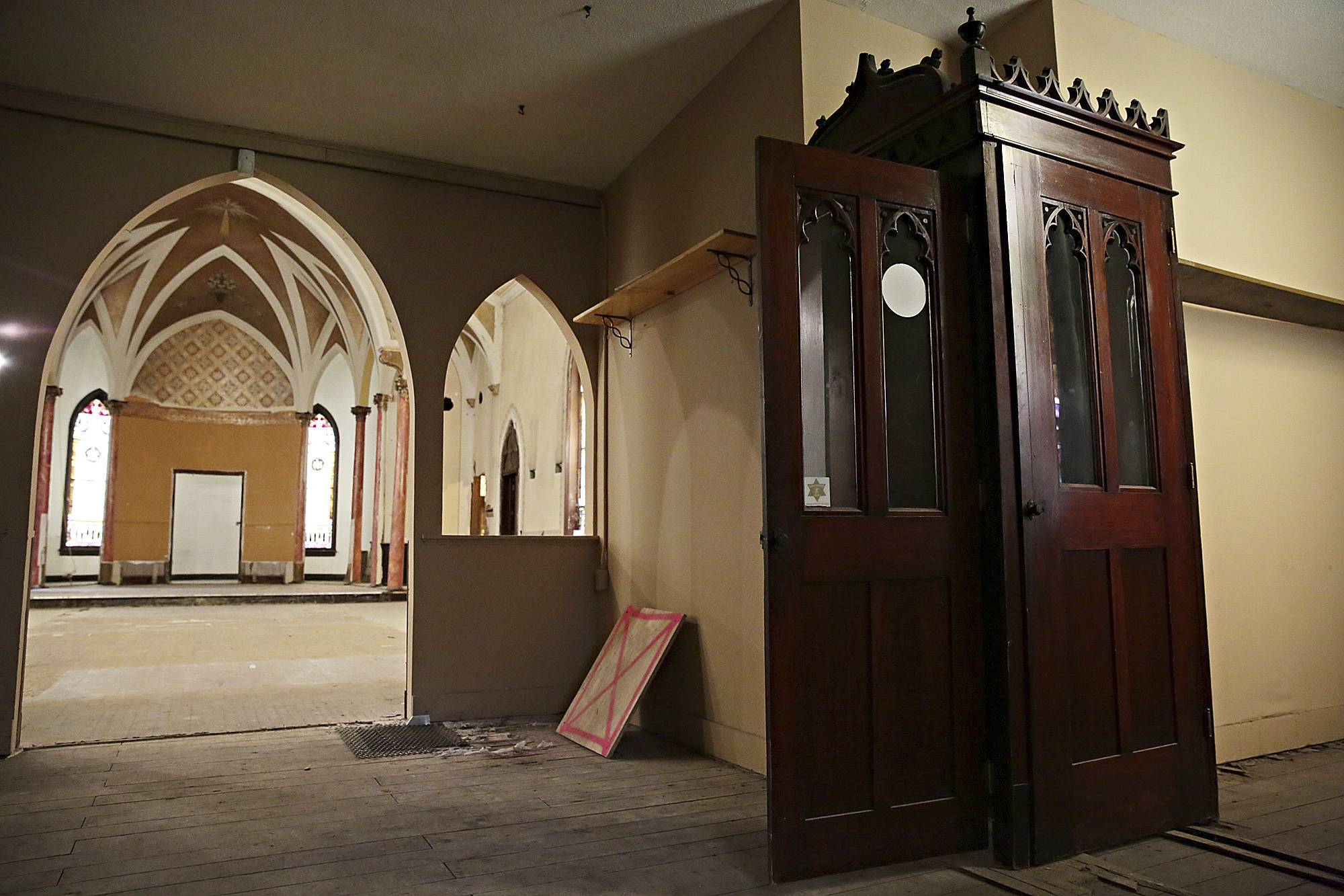 The confessional box inside the dilapidated St. Mary's Catholic Church in Plainfield. The building was acquired by the village and minimally restored. It has attracted interest from potential business developers.