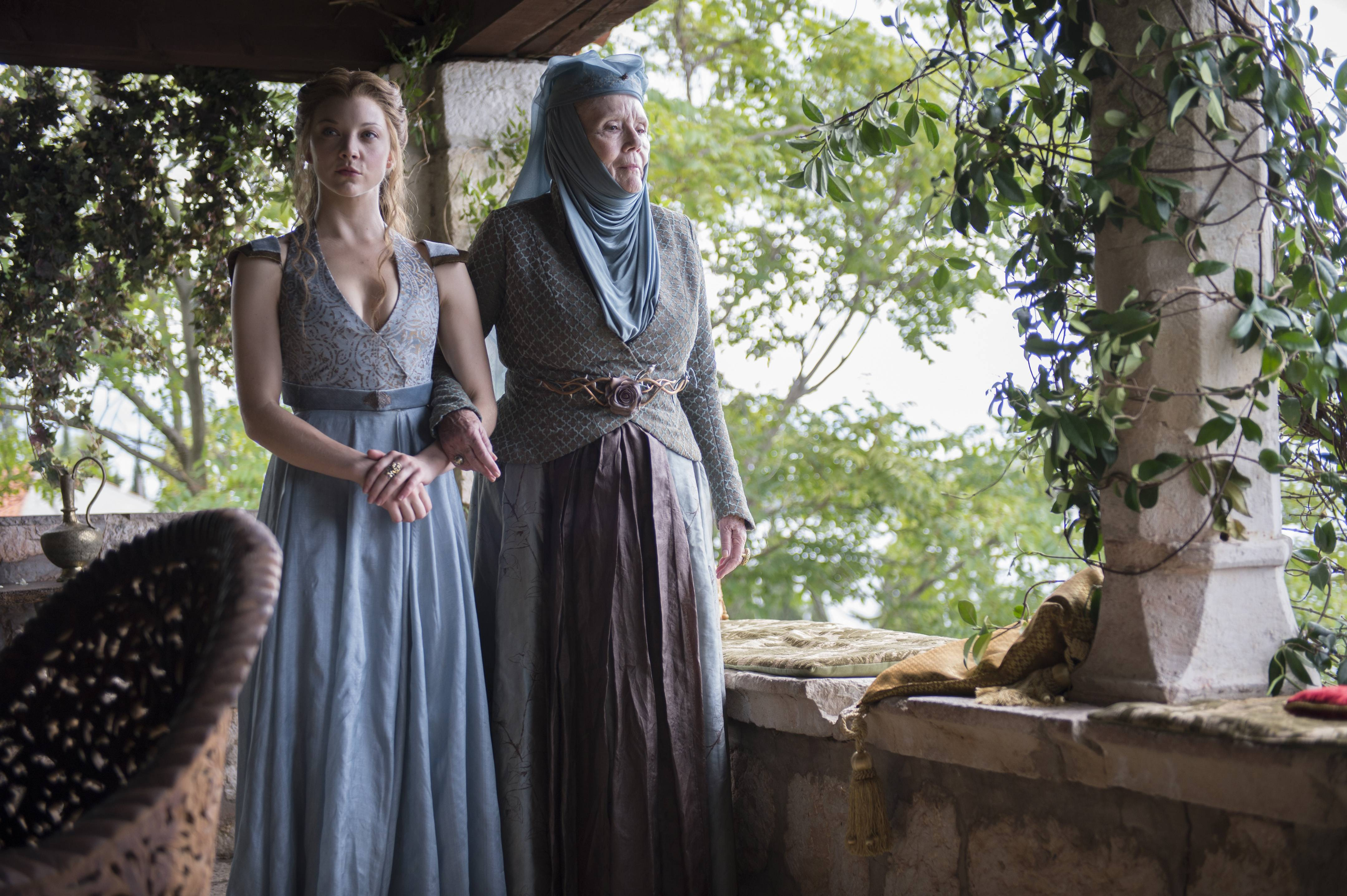"Natalie Dormer, left, and Diana Rigg star in ""Game of Thrones."" HBO announced that the show, which just began its fourth season Sunday, was renewed for two more seasons."